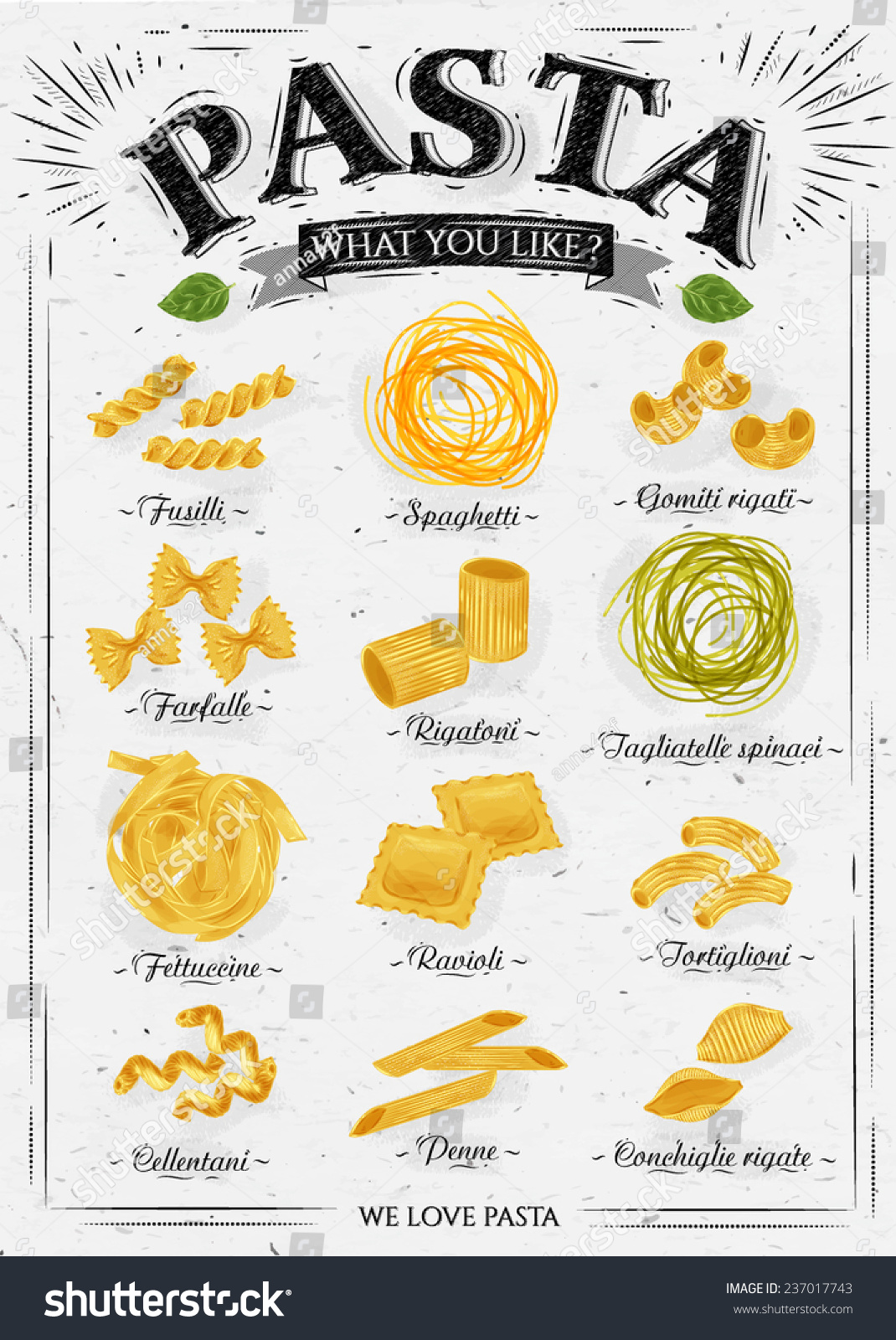 Poster Set Pasta Different Types Pasta Stock Vector ...