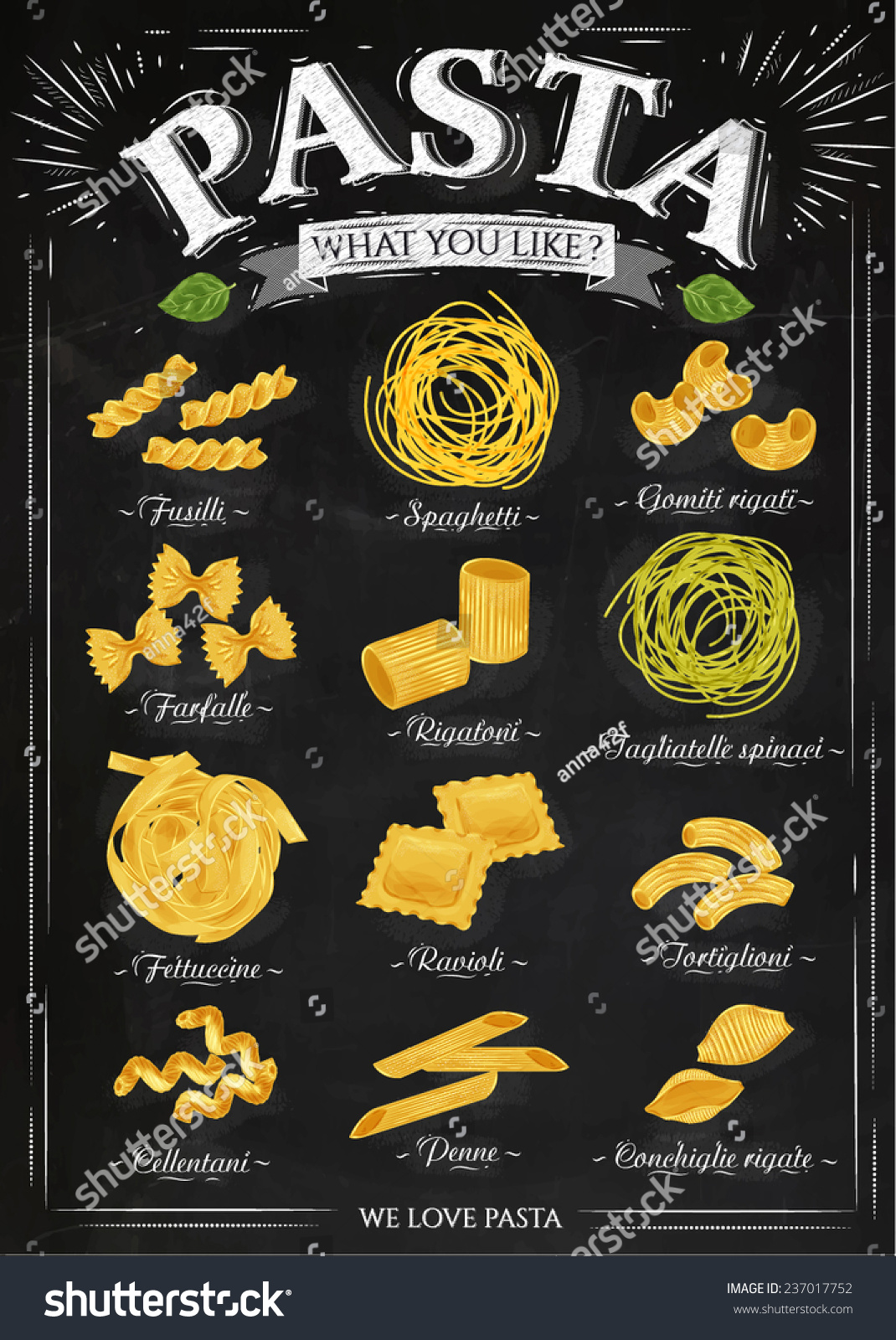 Poster Set Pasta Different Types Pasta Stock Vector 237017752 ...