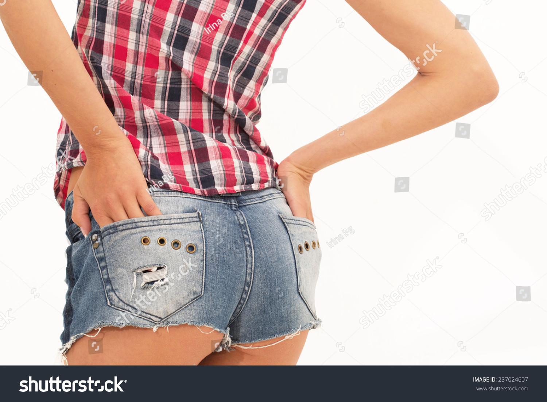 sexy woman body jean shorts model stock photo (royalty free