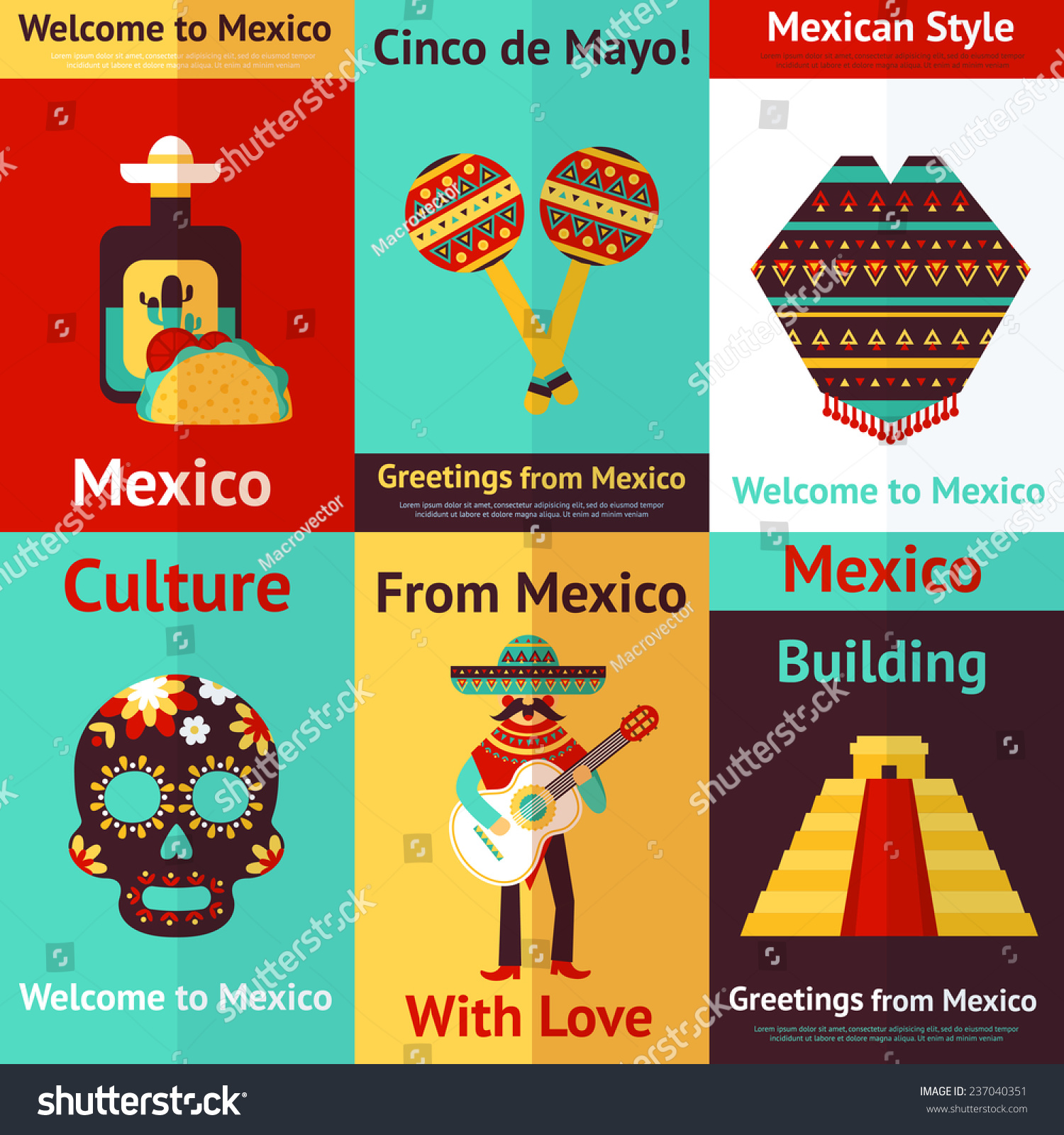 Mexico Style Culture Building Travel Mini Stock Illustration