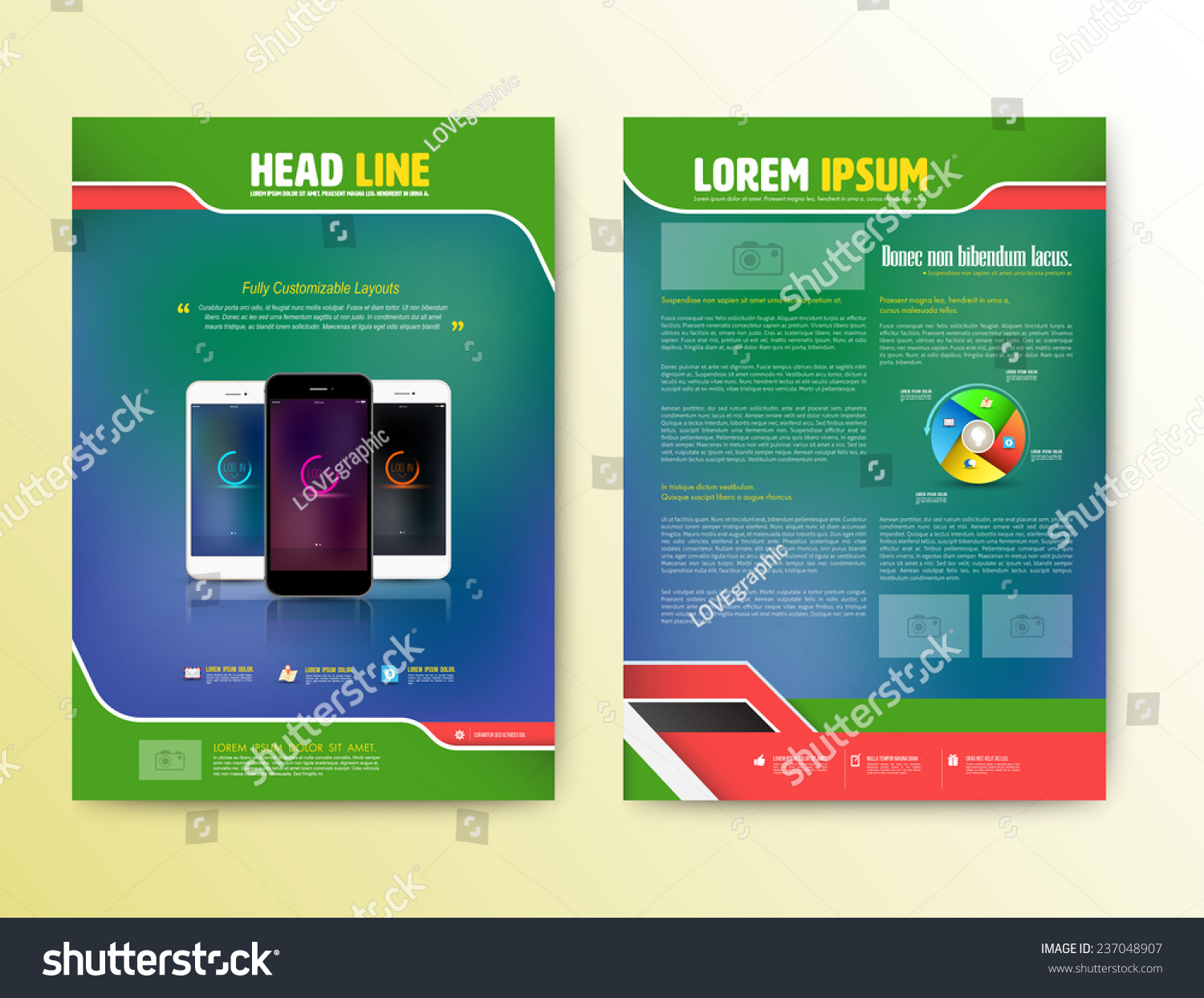 Abstract Vector Brochure Template Smartphones Flyer Stock Vector ...