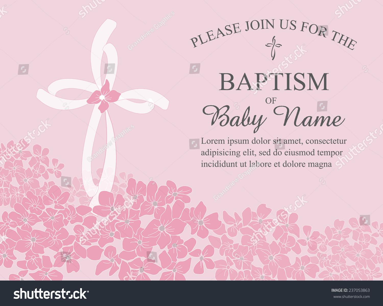 Girls Christening Baptism First Communion Confirmation Invitation