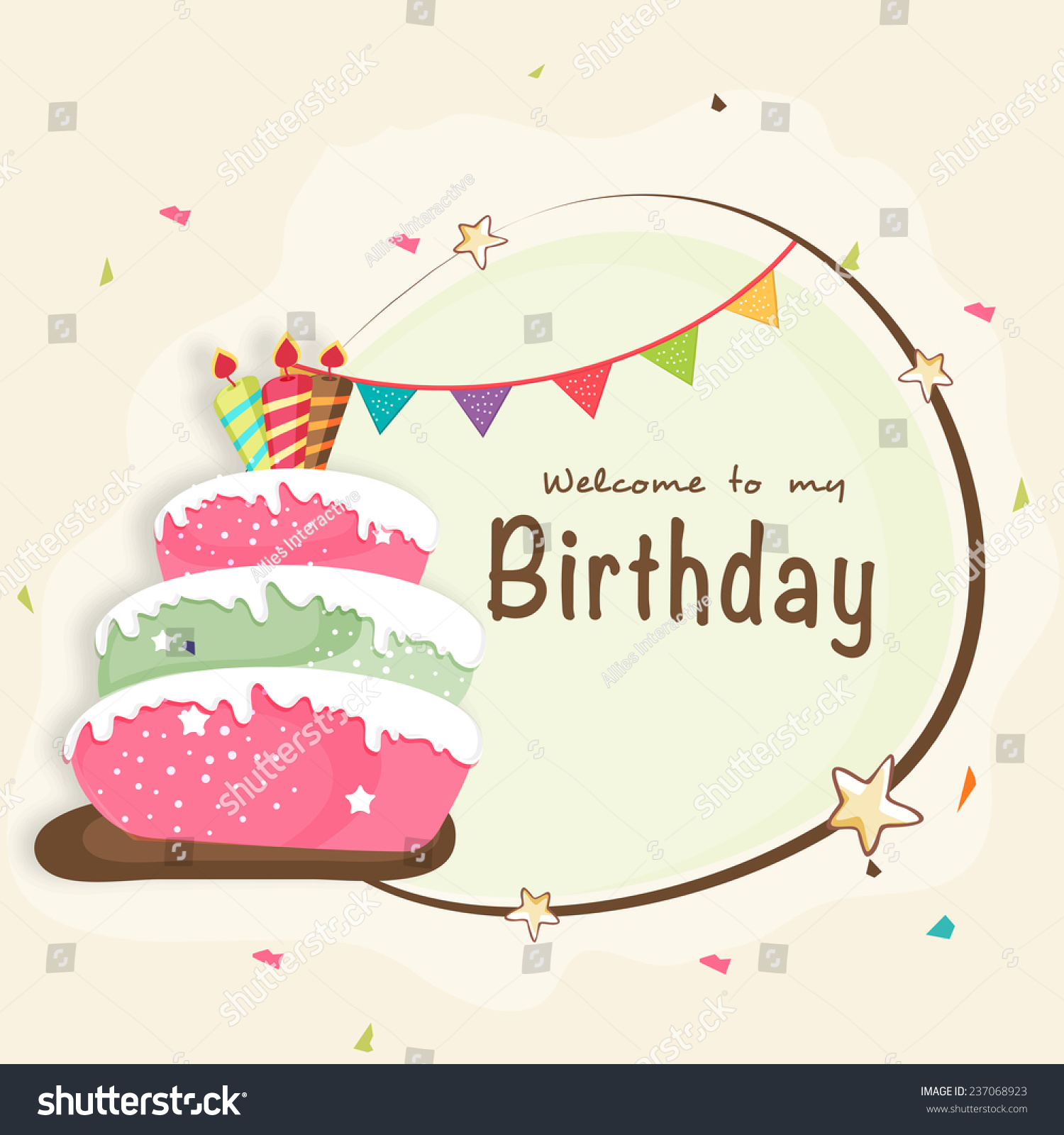 Happy birthday celebration invitation card design stock vector happy birthday celebration invitation card design with party flag delicious cake and space for your stopboris Choice Image