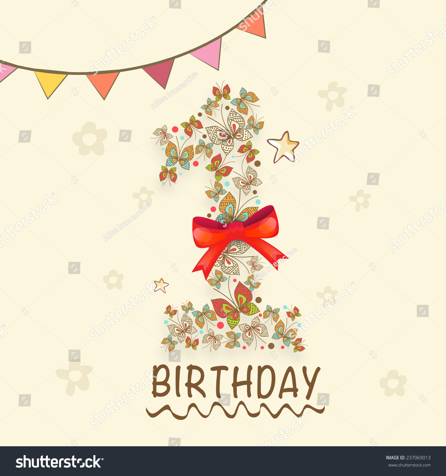 Kids 1st Birthday Greeting Card Invitation Stock Vector