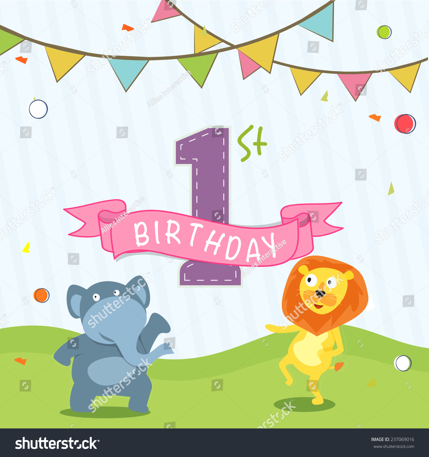 First Birthday Candle With Animals Stock Photo: Kids 1st Birthday Celebration Invitation Card Design With