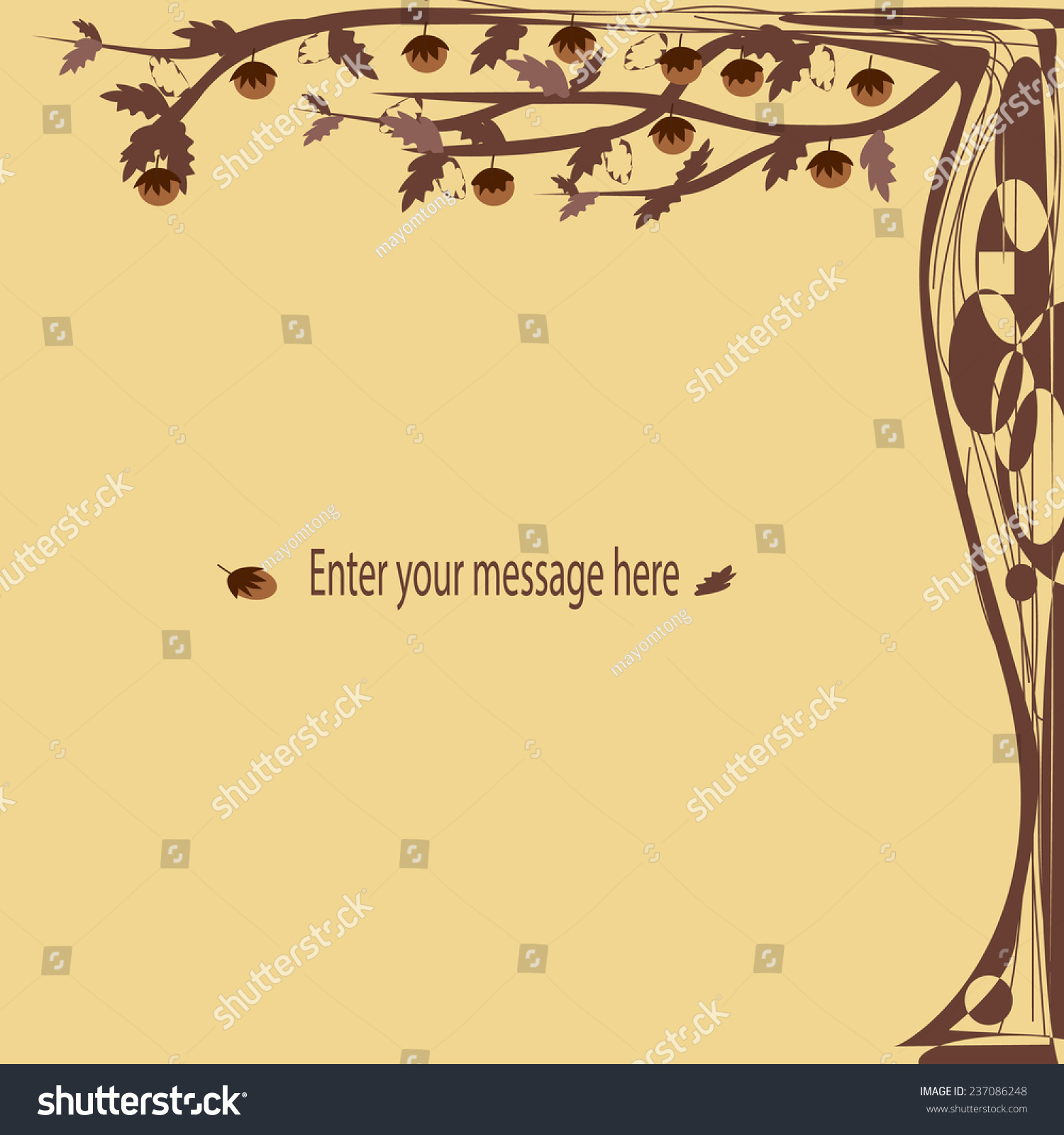 Greeting Cards Fancy Tree Form Brown Stock Vector Royalty Free