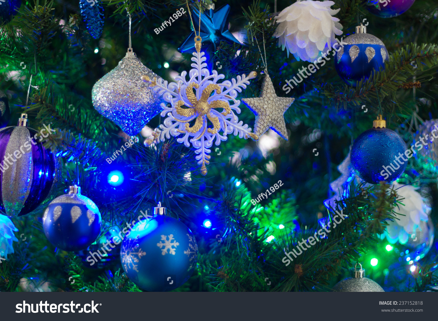 Blue Green Light On Christmas Tree Stock Photo 237152818