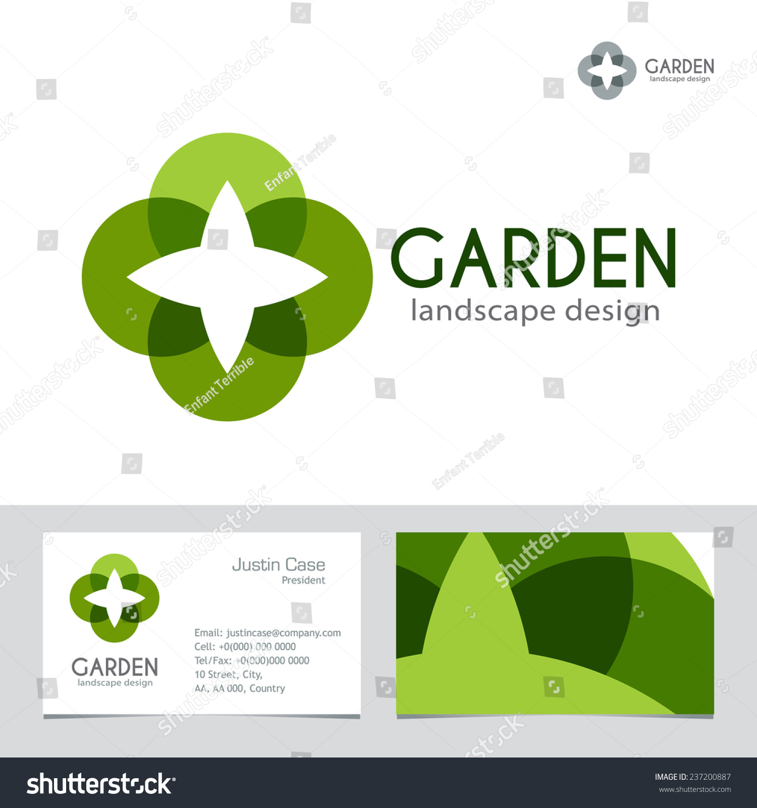 Abstract business sign business card vector template for Garden design business