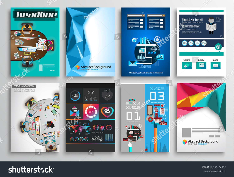 set flyer design web templates brochure stock vector 237204850 shutterstock. Black Bedroom Furniture Sets. Home Design Ideas
