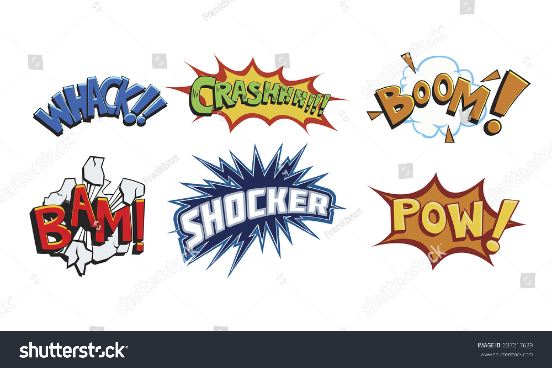 comic book words such whackcrashboombamshocker powaction stock comic book words such as whack crash boom bam shocker and pow