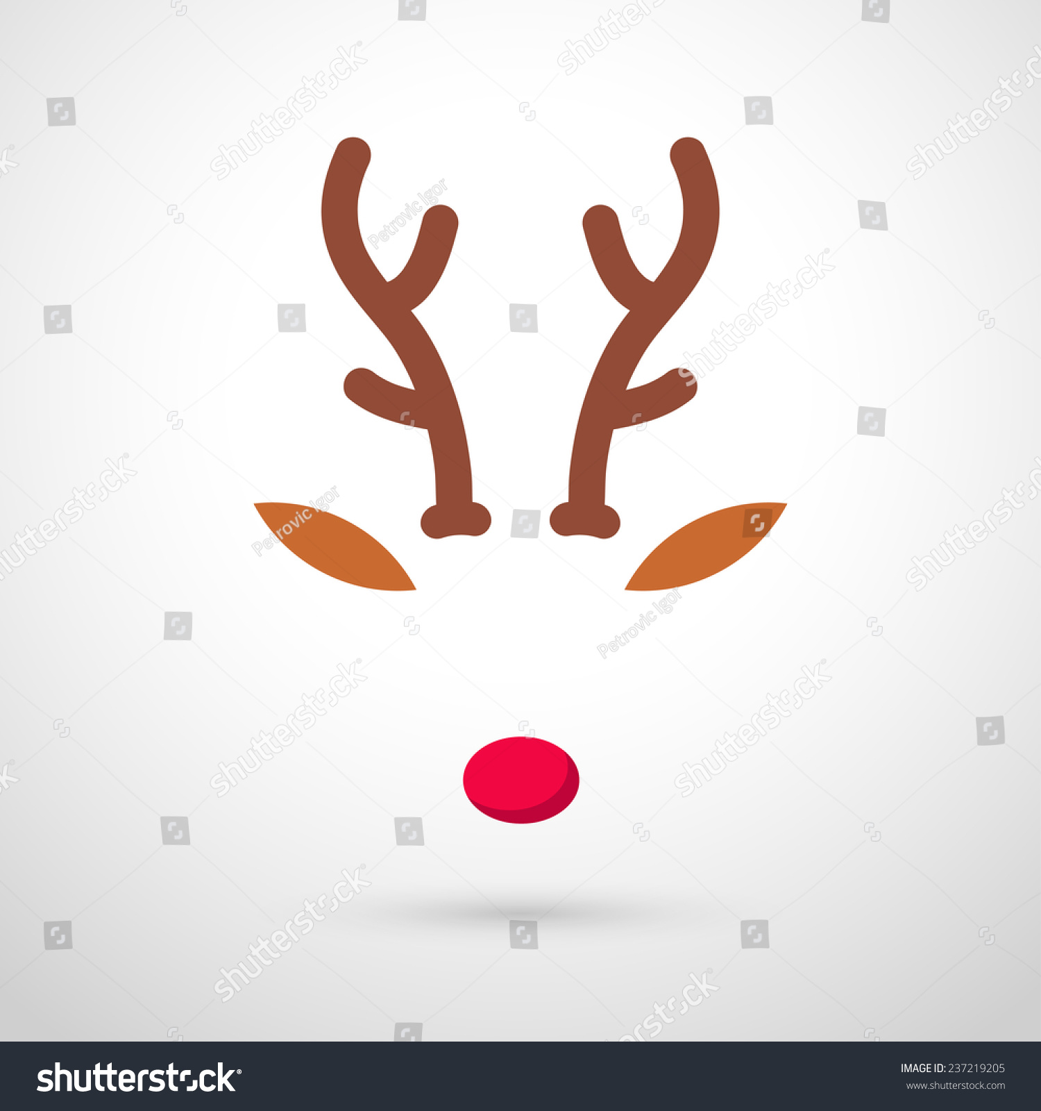 Reindeer red nose template vector illustration stock for Rudolph antlers template