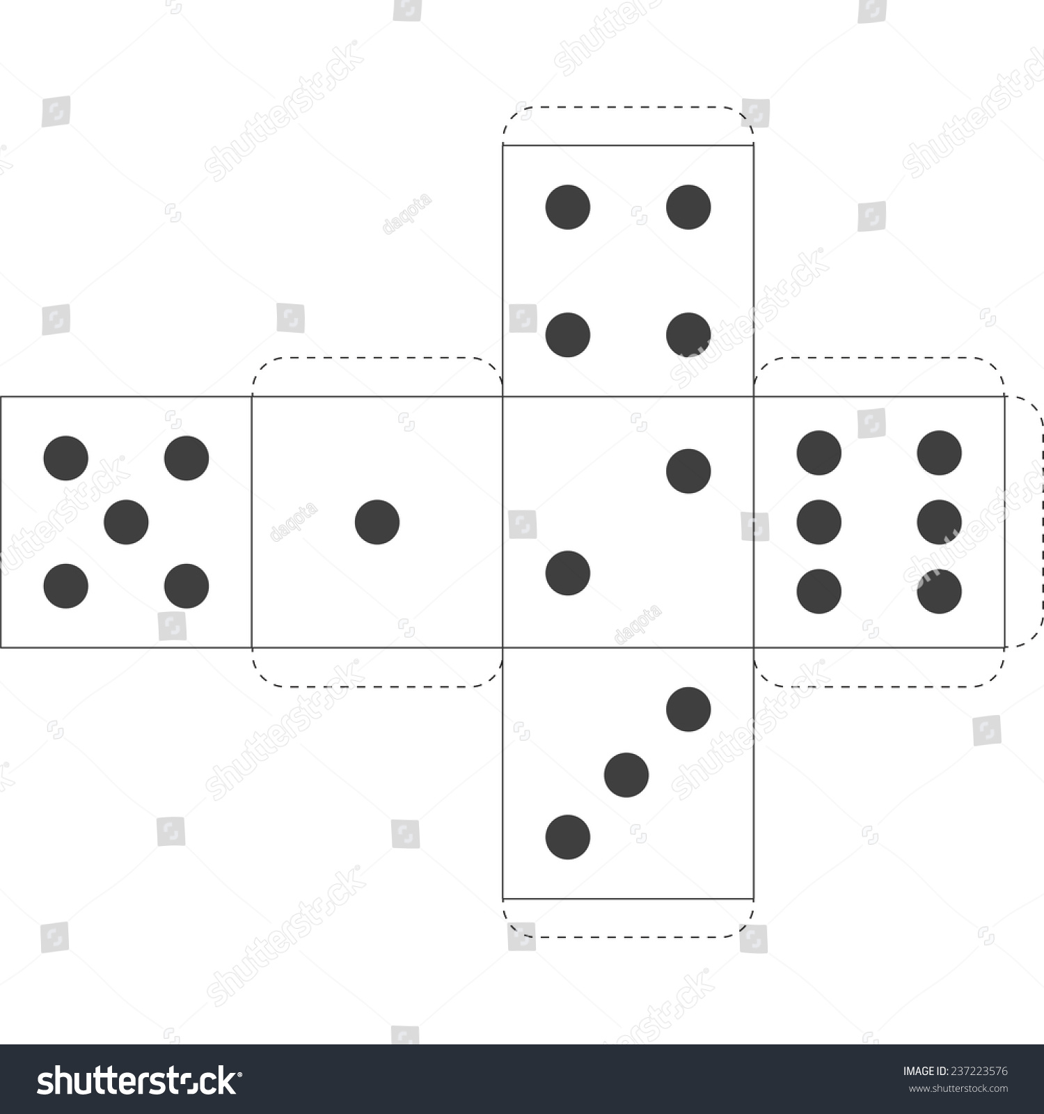 Paper Dice Template Vector Stock Vector 237223576