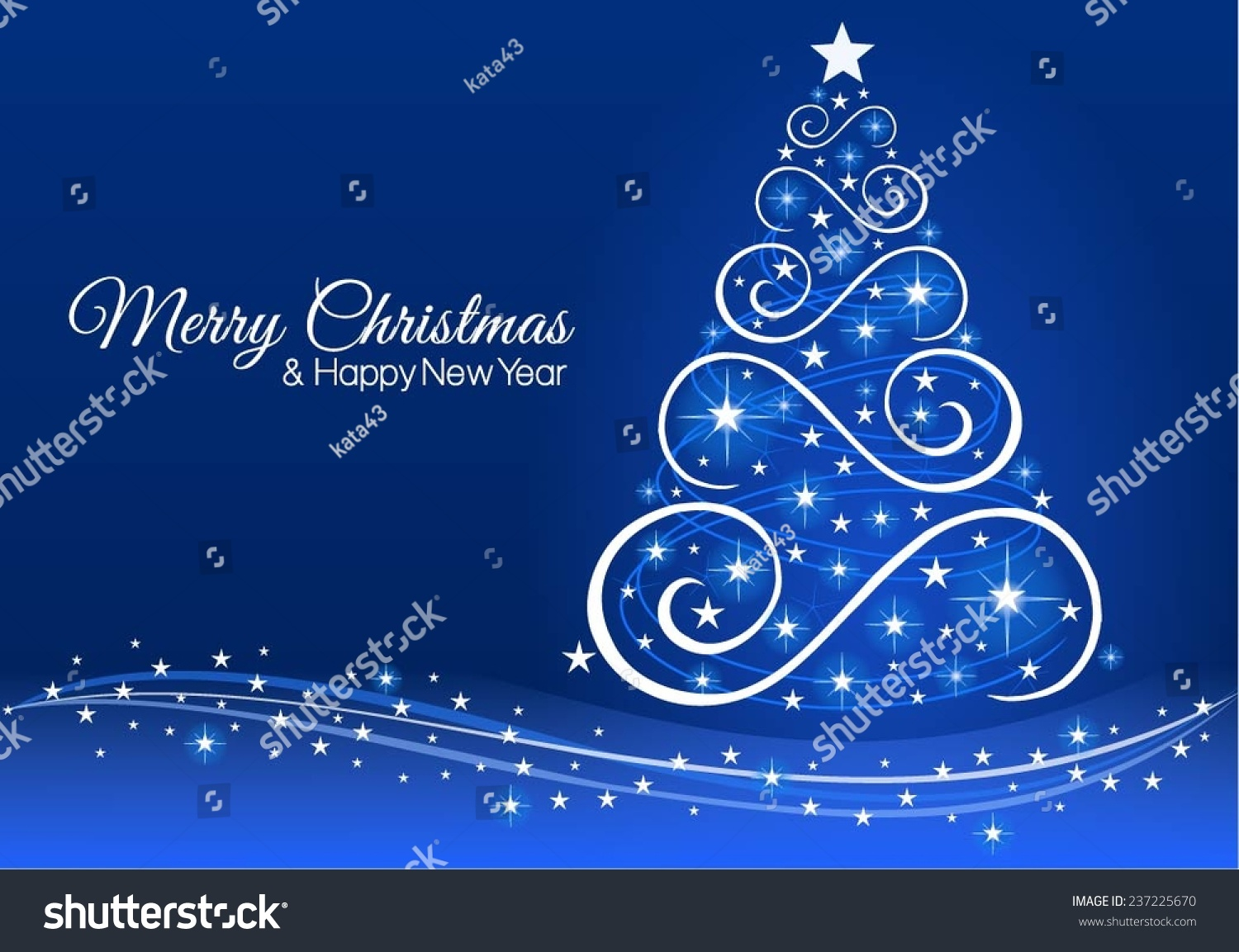 Christmas new year greeting card blue stock vector 237225670 christmas and new year greeting card in blue kristyandbryce Images