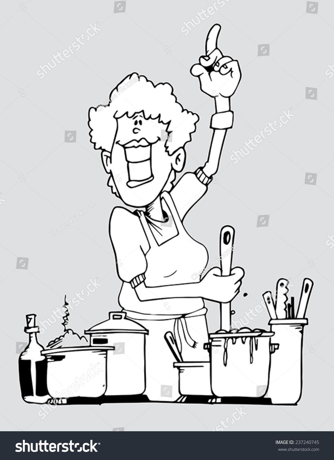 Line Art Vector Illustration Grandma Kitchen Stock Vector 237240745 ...