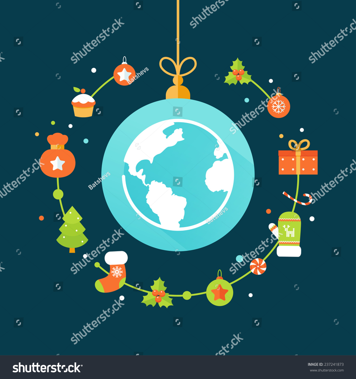 earth globe and christmas decorations christmas and new year celebrations around the world flat - Christmas Around The World Decorations