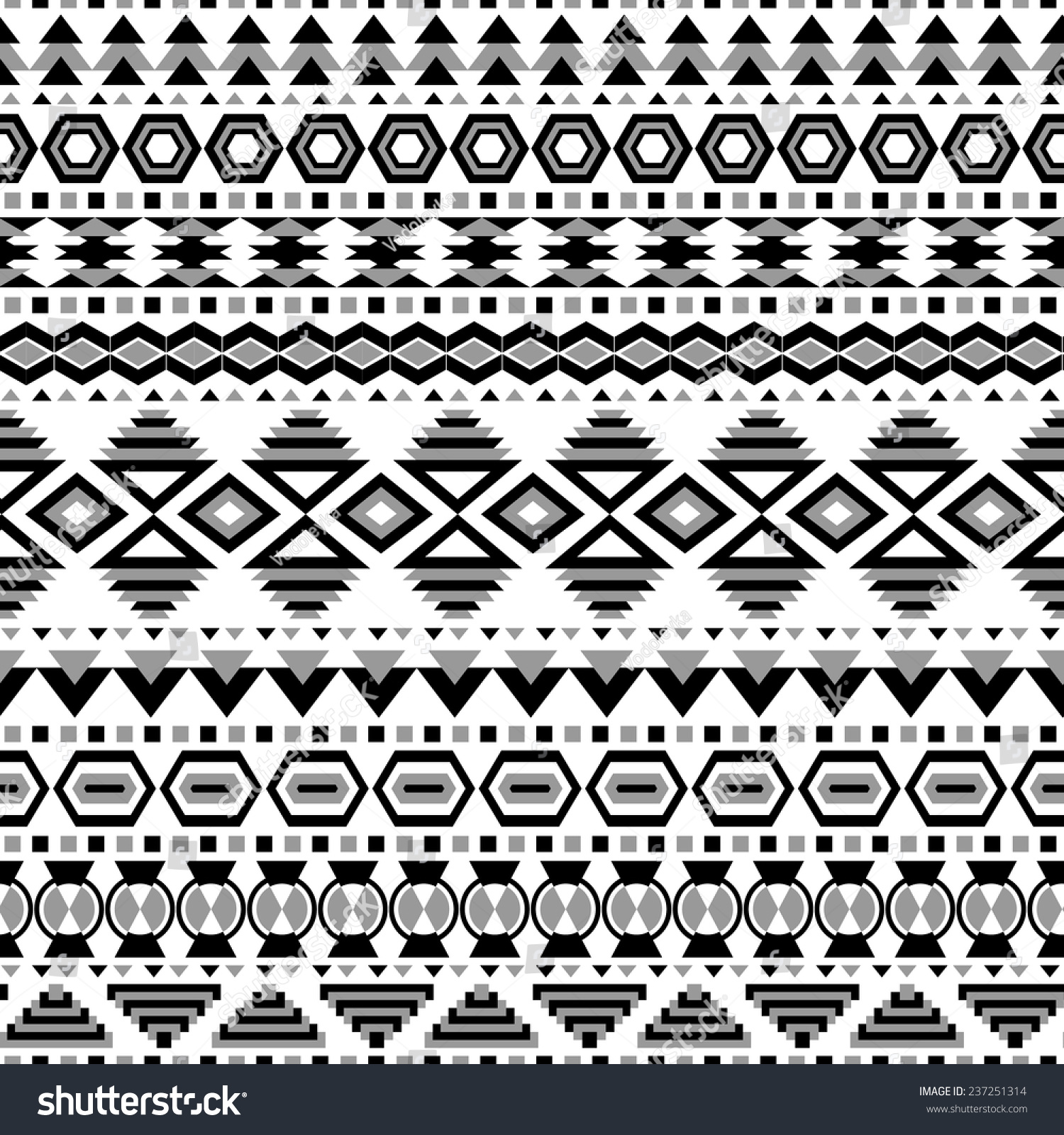 Ethnic Seamless Pattern Aztec Blackwhite - 728.5KB