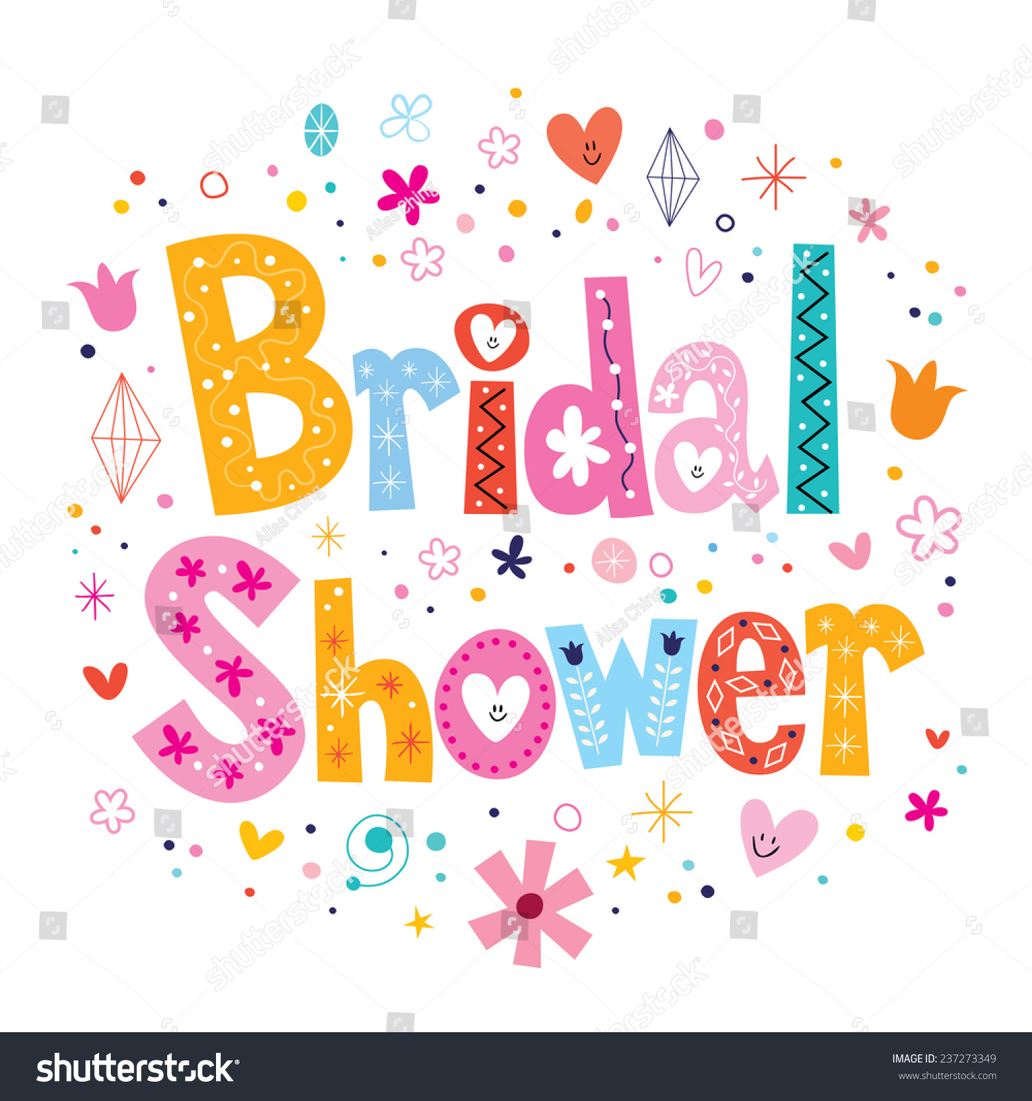 Royalty Free Bridal Shower Card Lettering Decorative 237273349