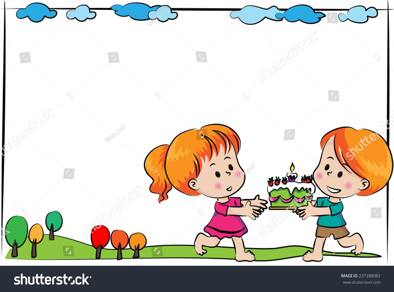 Boy Girl Blank Birthday Card People Stock Image