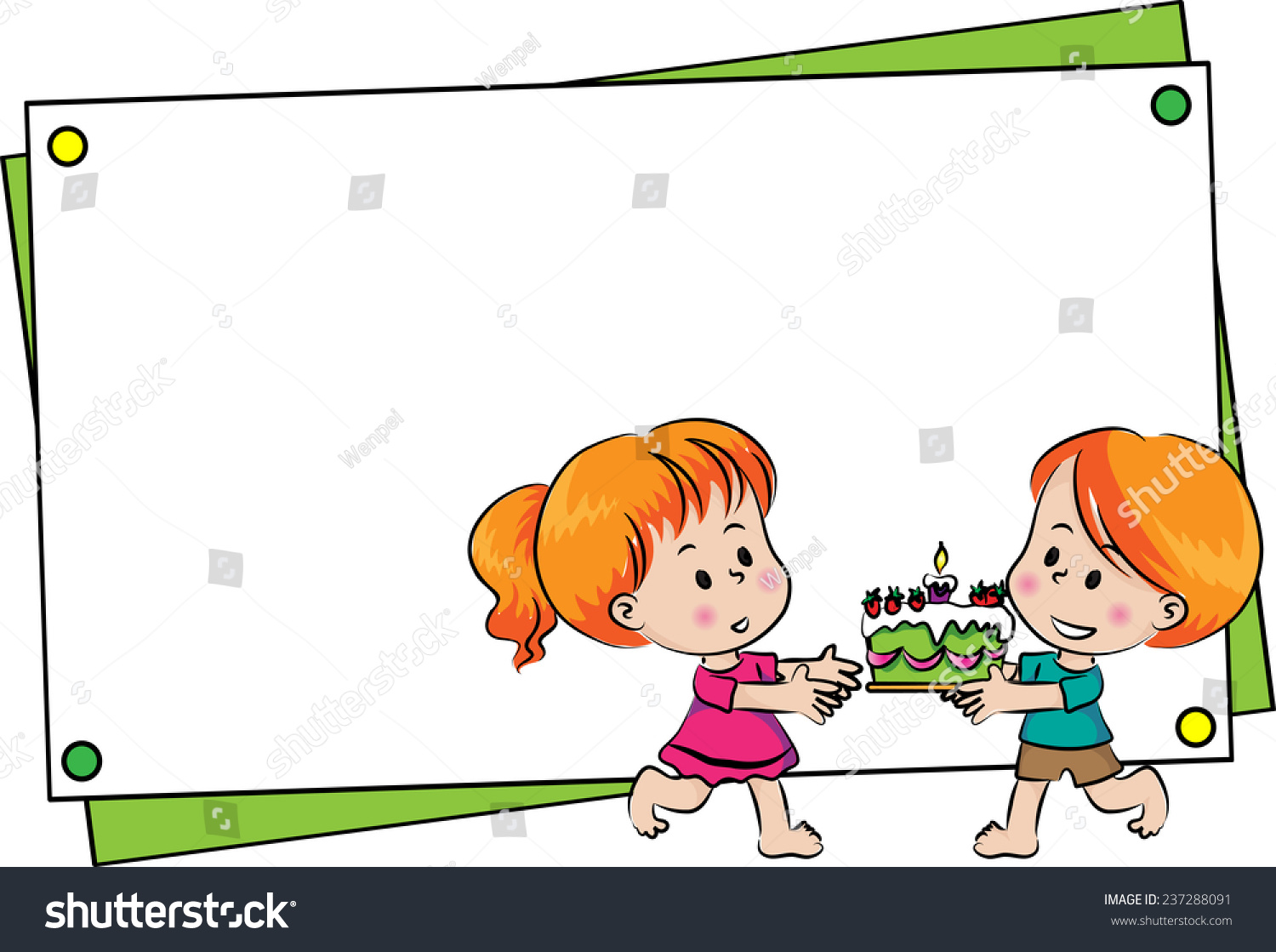 Boy And Girl With Blank Birthday Card