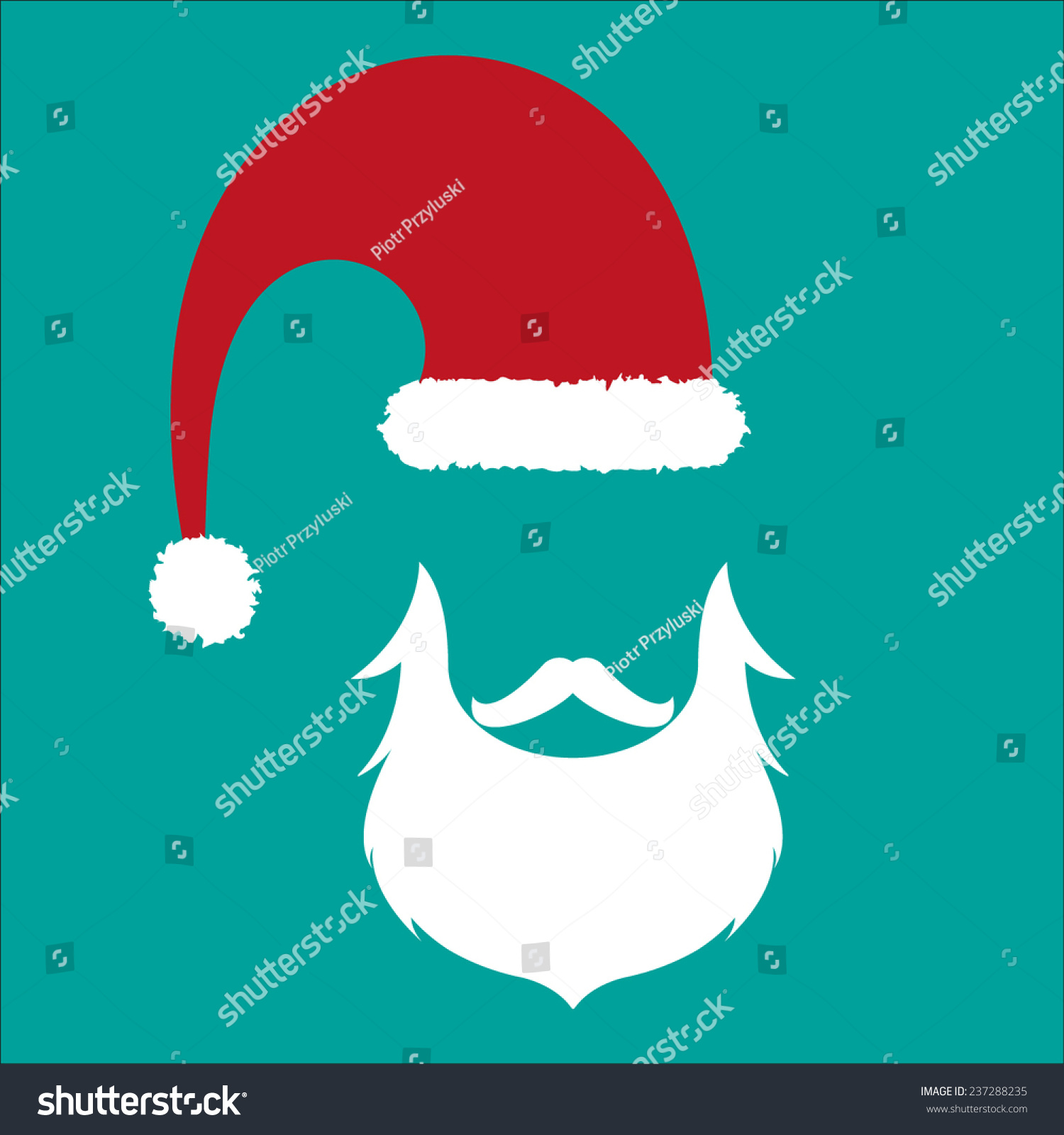Santa Beard Vector santa face, hat and beard - vector hipster icon on ...