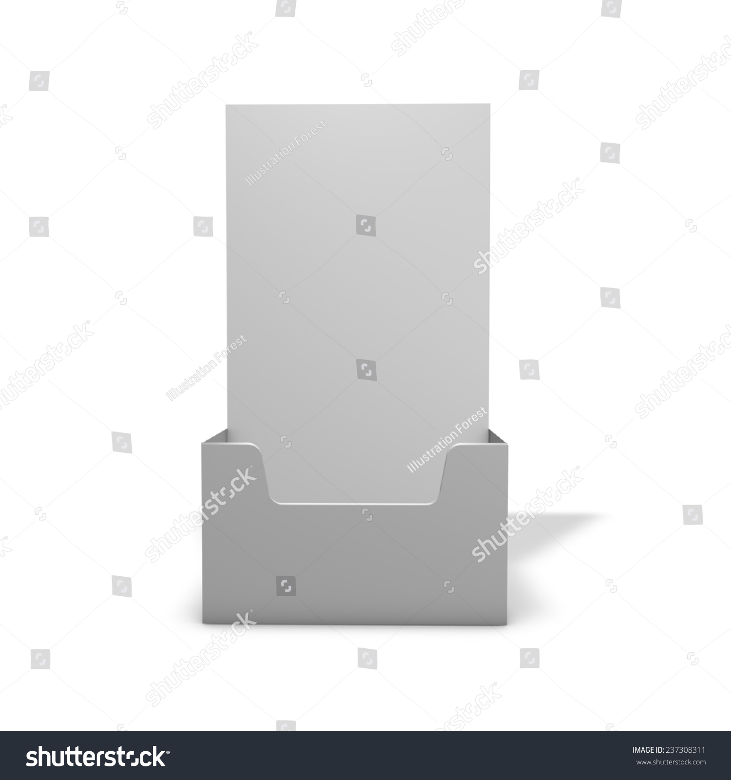 empty leaflet holder 3d render fliers marketing stand with shadow isolated on white