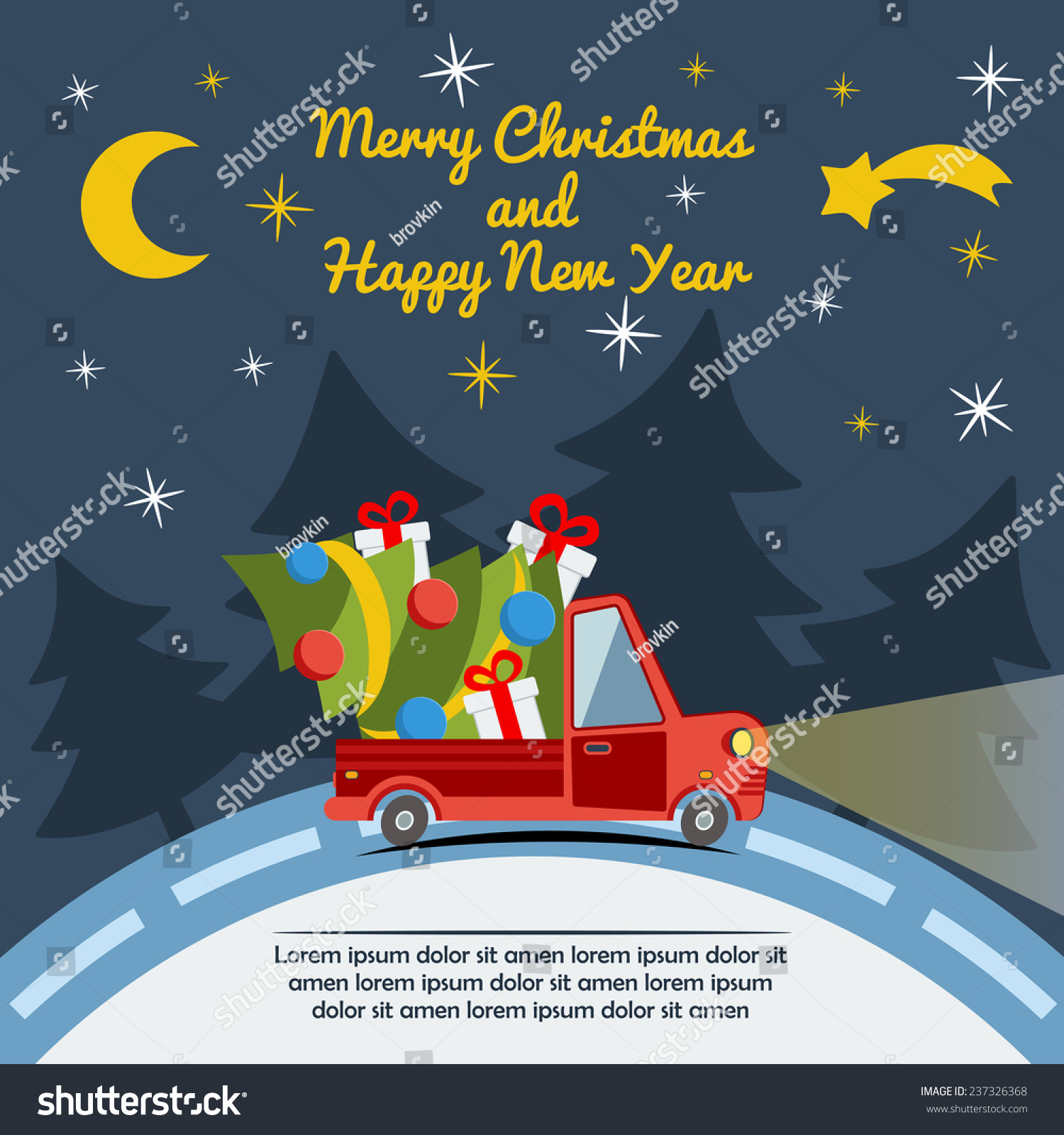 Christmas New Year Greeting Card Delivery Stock Vector Royalty Free