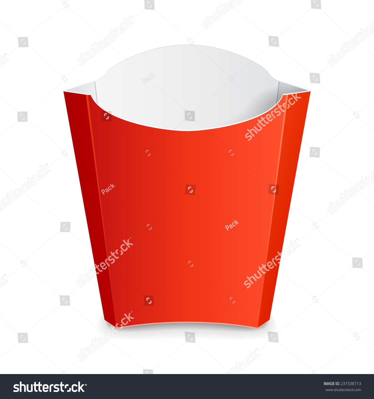 French fries red paper box on stock vector 237338713 for French fries packaging template