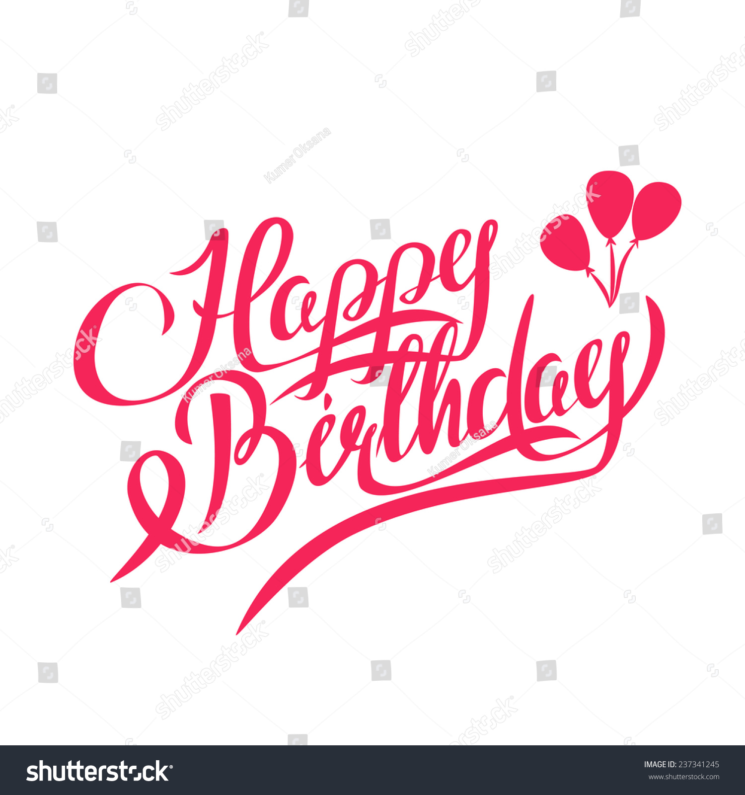 Happy Birthday Vector Lettering Handmade Calligraphy Stock