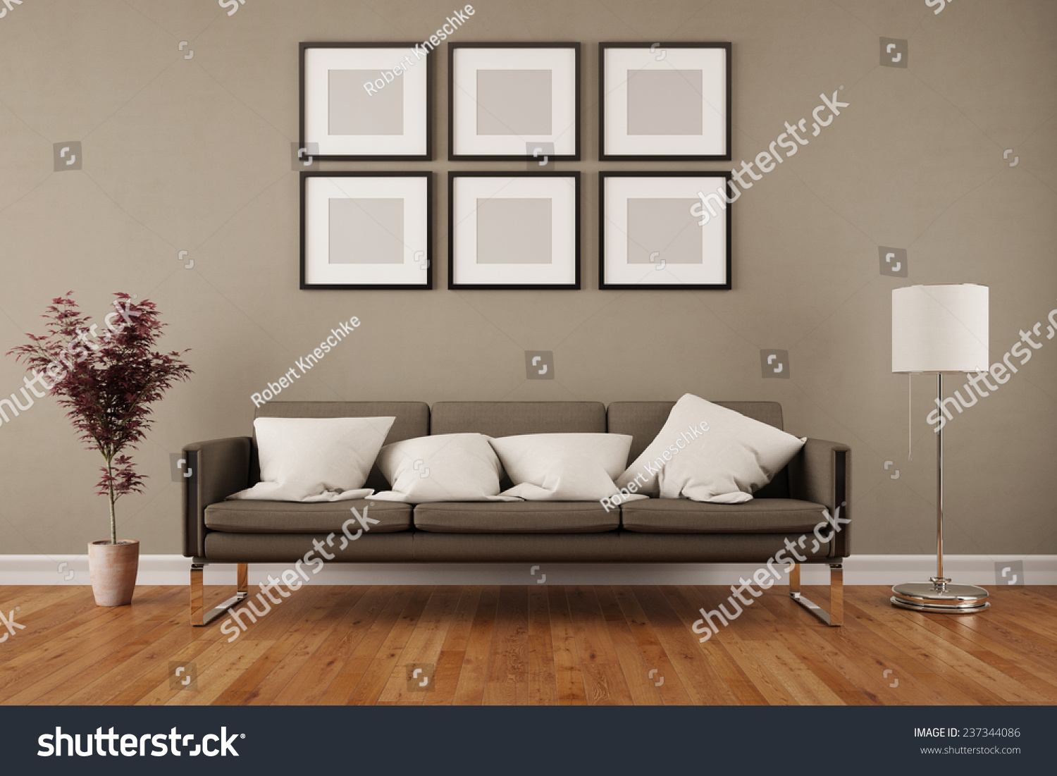 Wall Six Empty Picture Frames Living Stock Illustration 237344086 ...