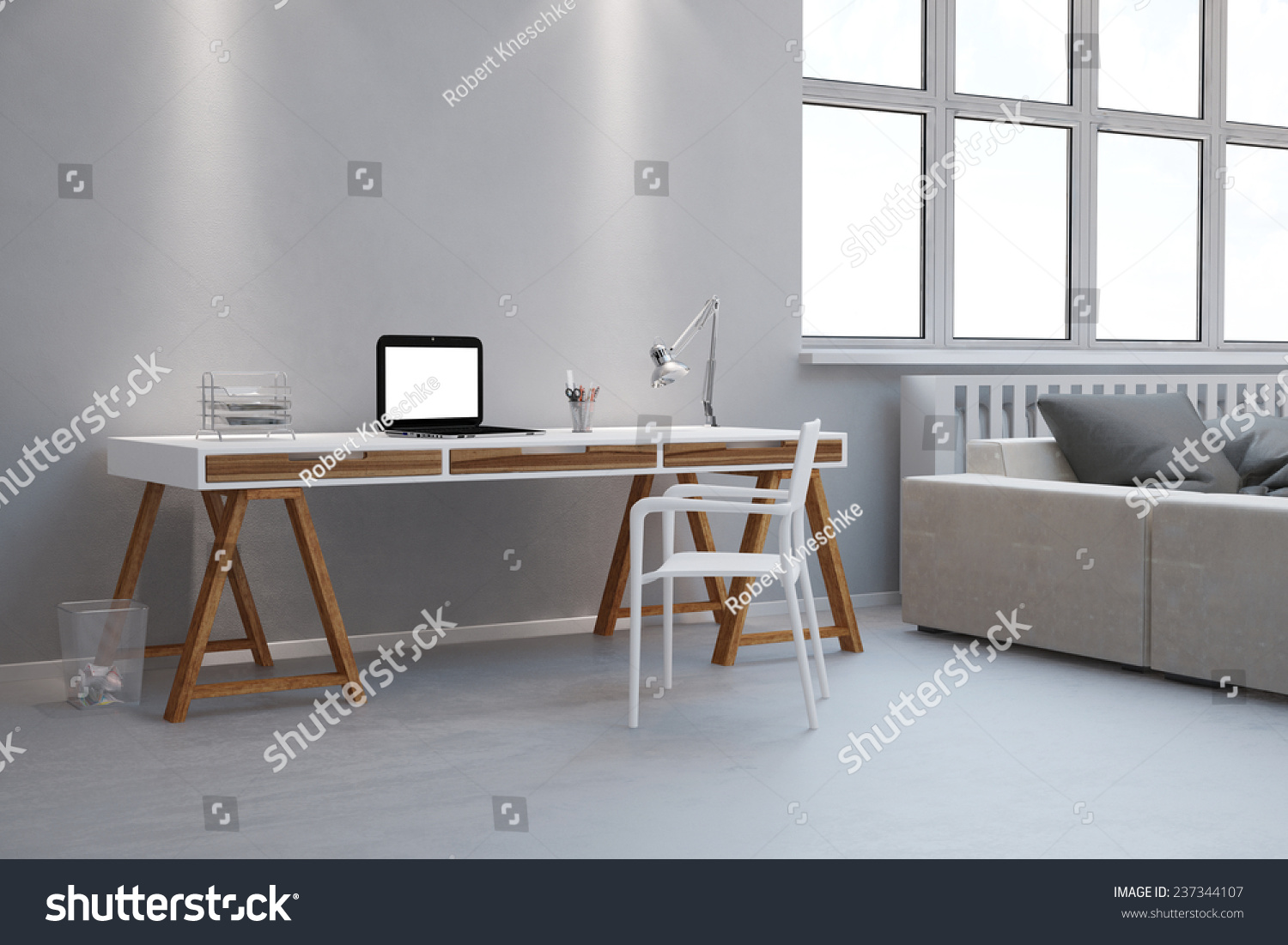 Small Desk As Home Office With Laptop Computer In A Living Room (3D  Rendering) Part 81