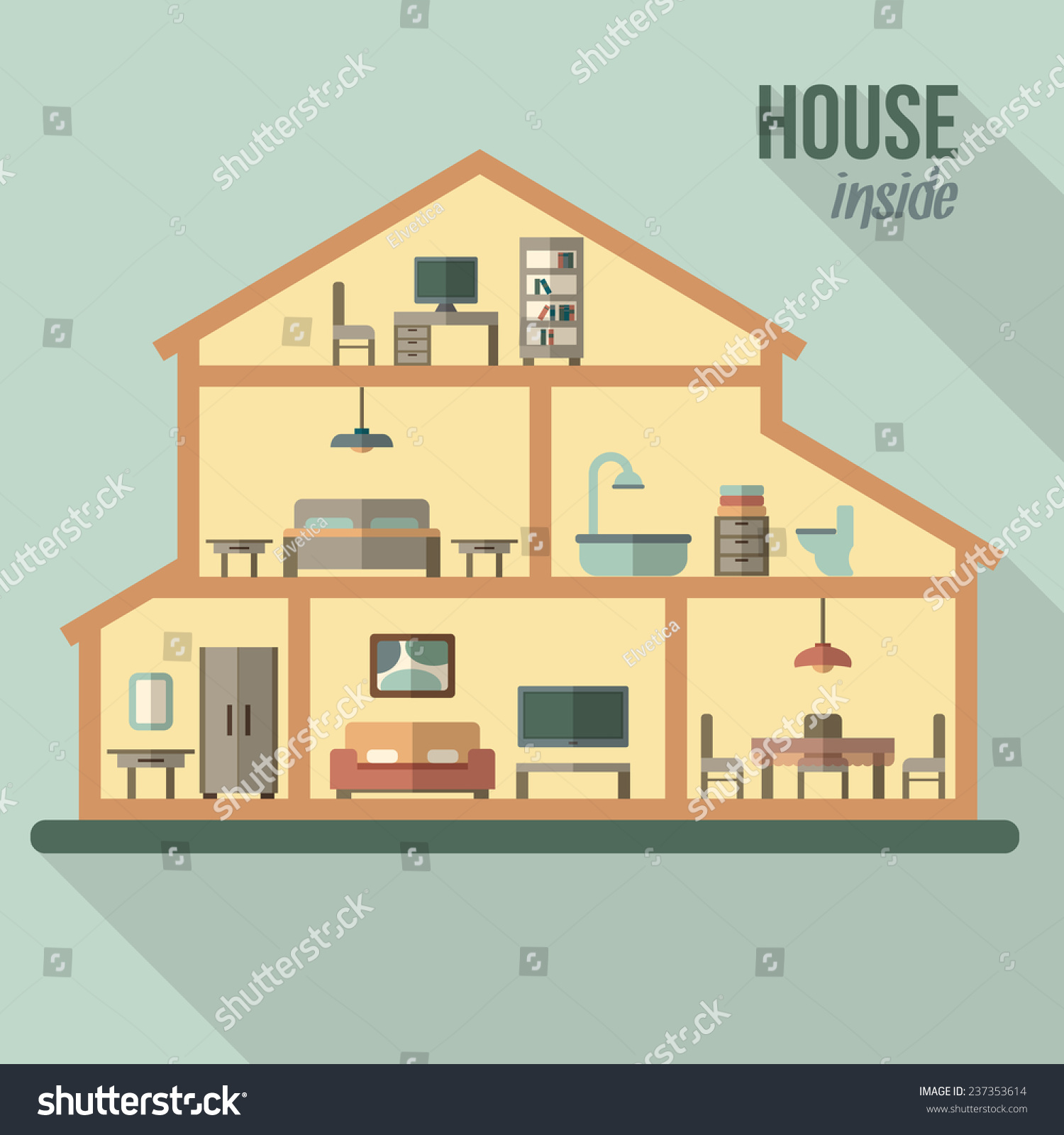 House cut detailed modern house interior stock vector for House inside images