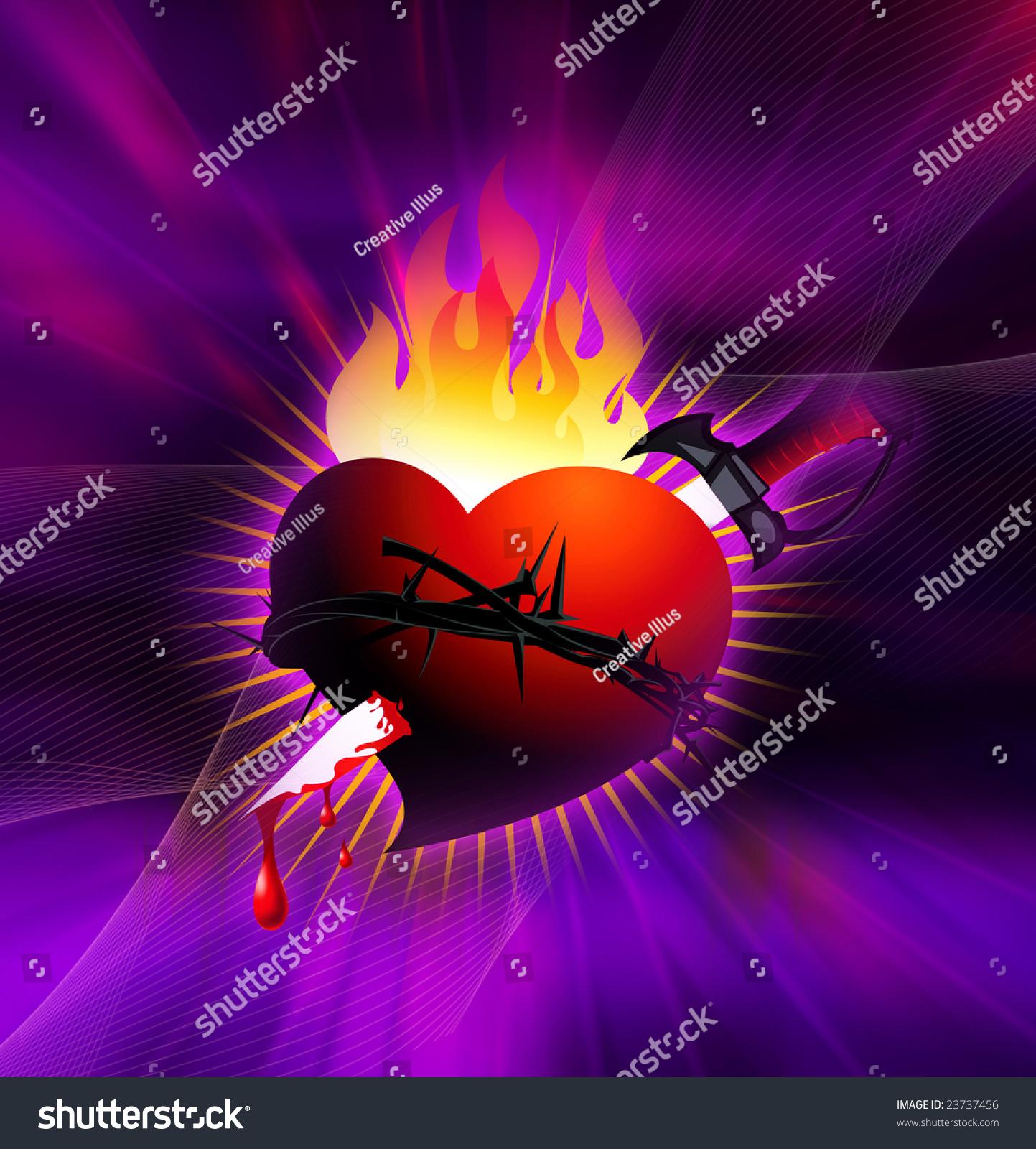 illustration heart crown thorns sword stock illustration