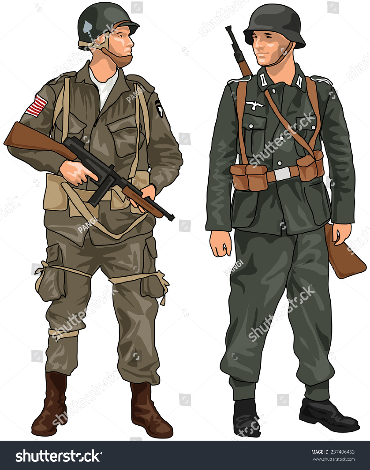 World War Two German And American Soldiers With Weapons ...