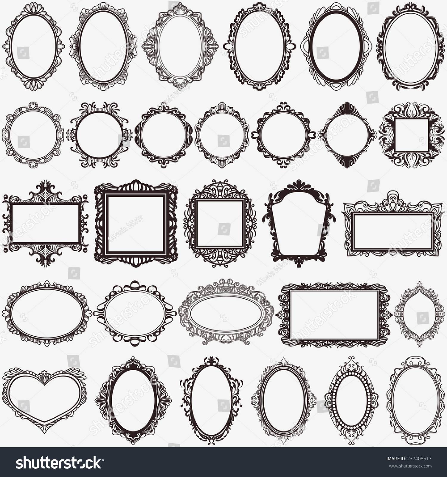 set of black round and square vintage frames design elements