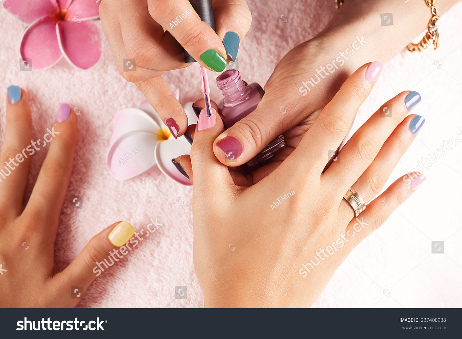 Bright stylish manicure with colored nail manicure for A trial beauty treatment salon
