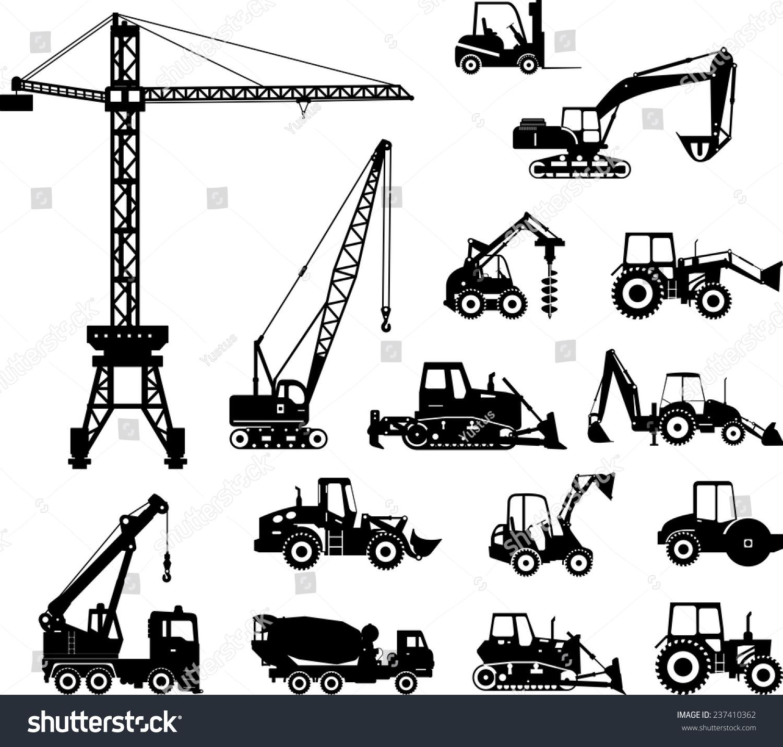 Heavy Equipment Silhouette : Set heavy construction machines icons vector stock