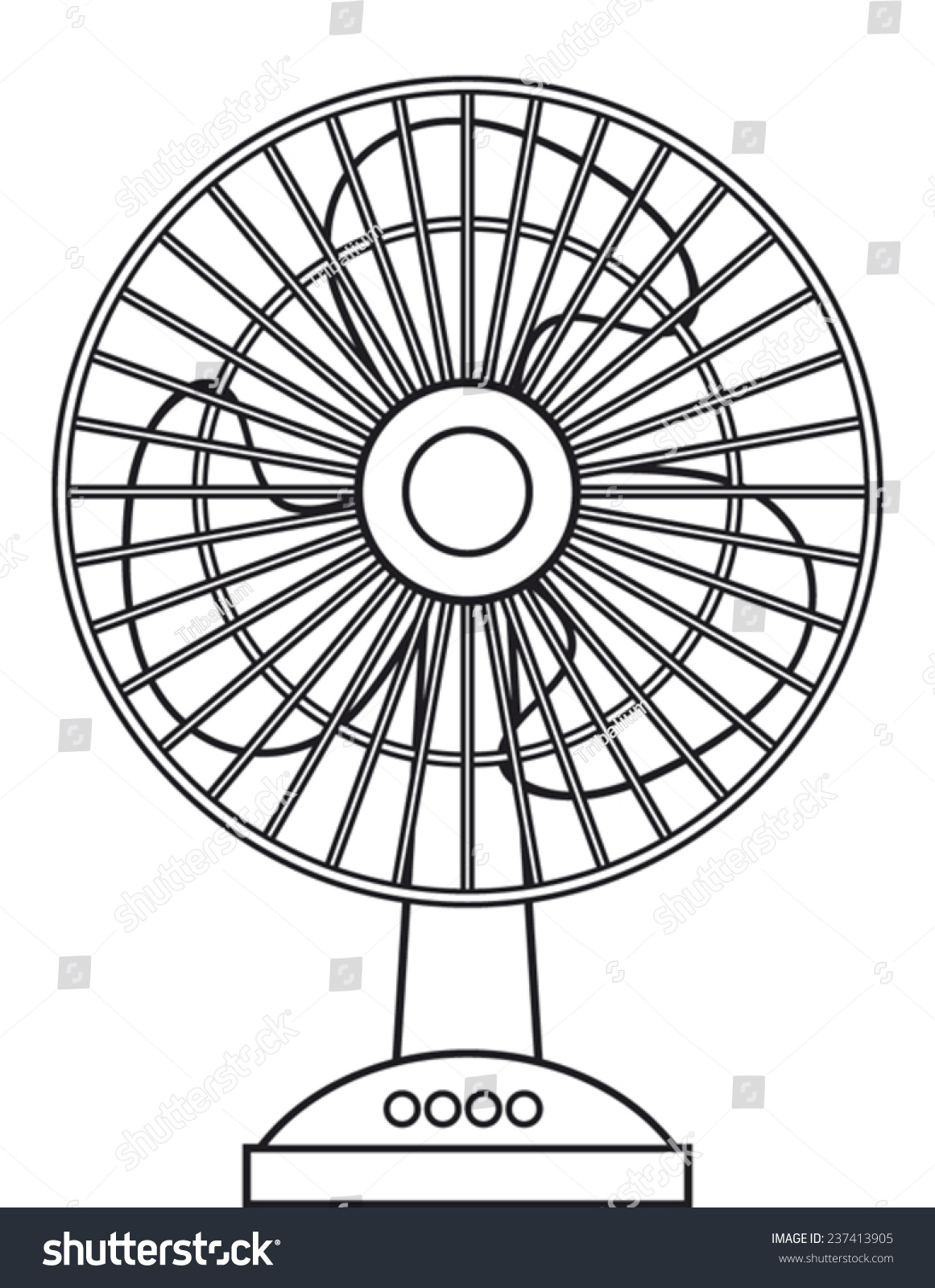 A Sketch Of A Electric Fan : Table fan for the home and office electric