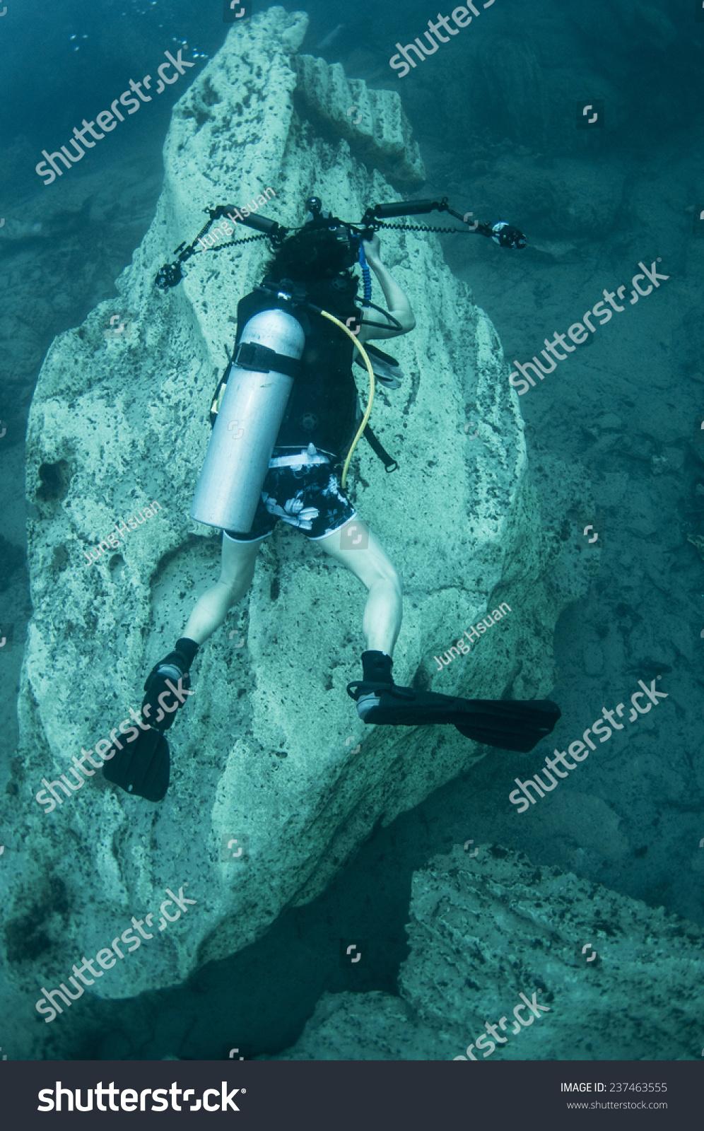 Underwater Photographer Below Hot Spring Different Stock Photo 237463555 Shutterstock