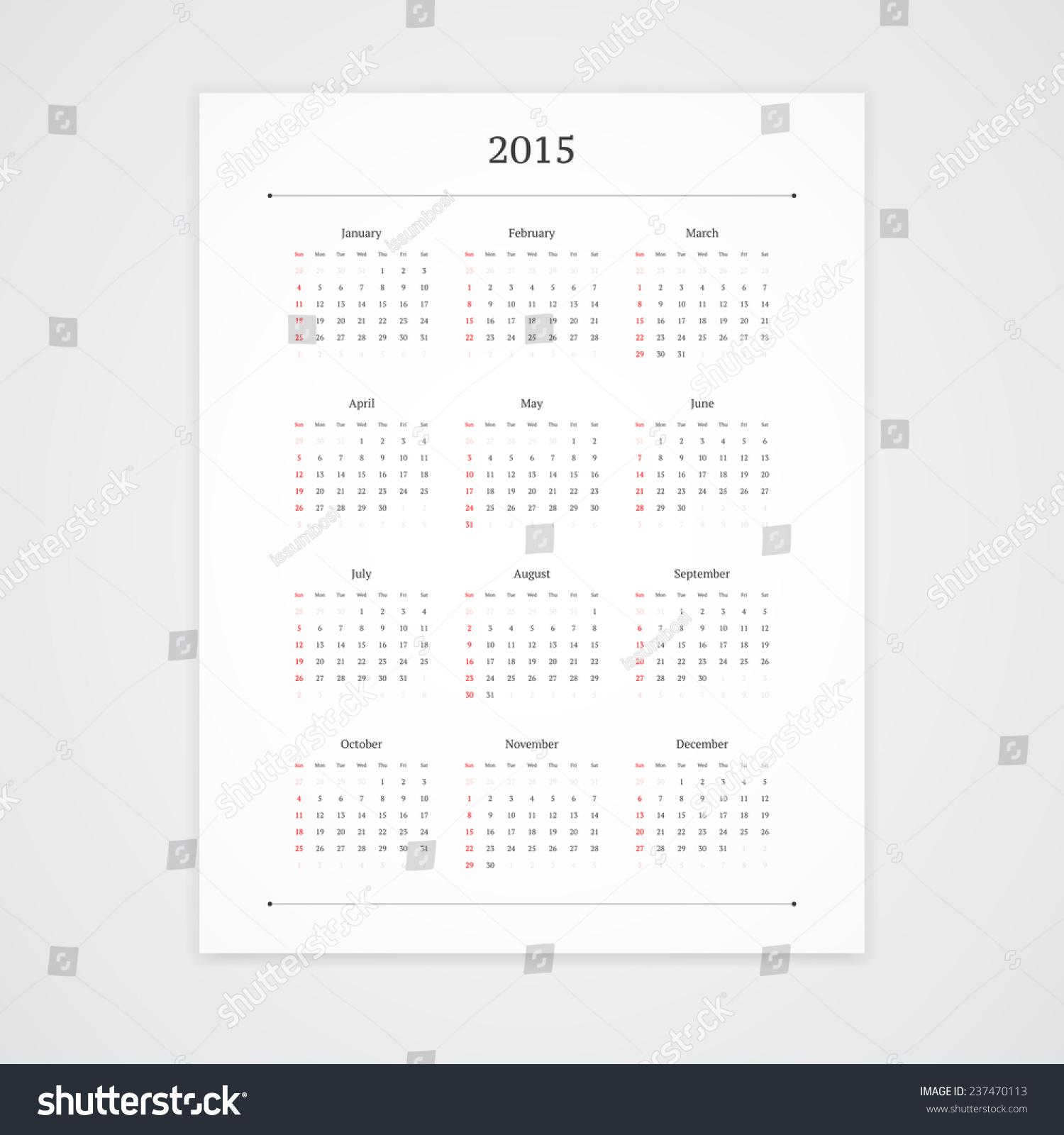 Minimalist Calendar Template : Simple calendar vector template isolated stock