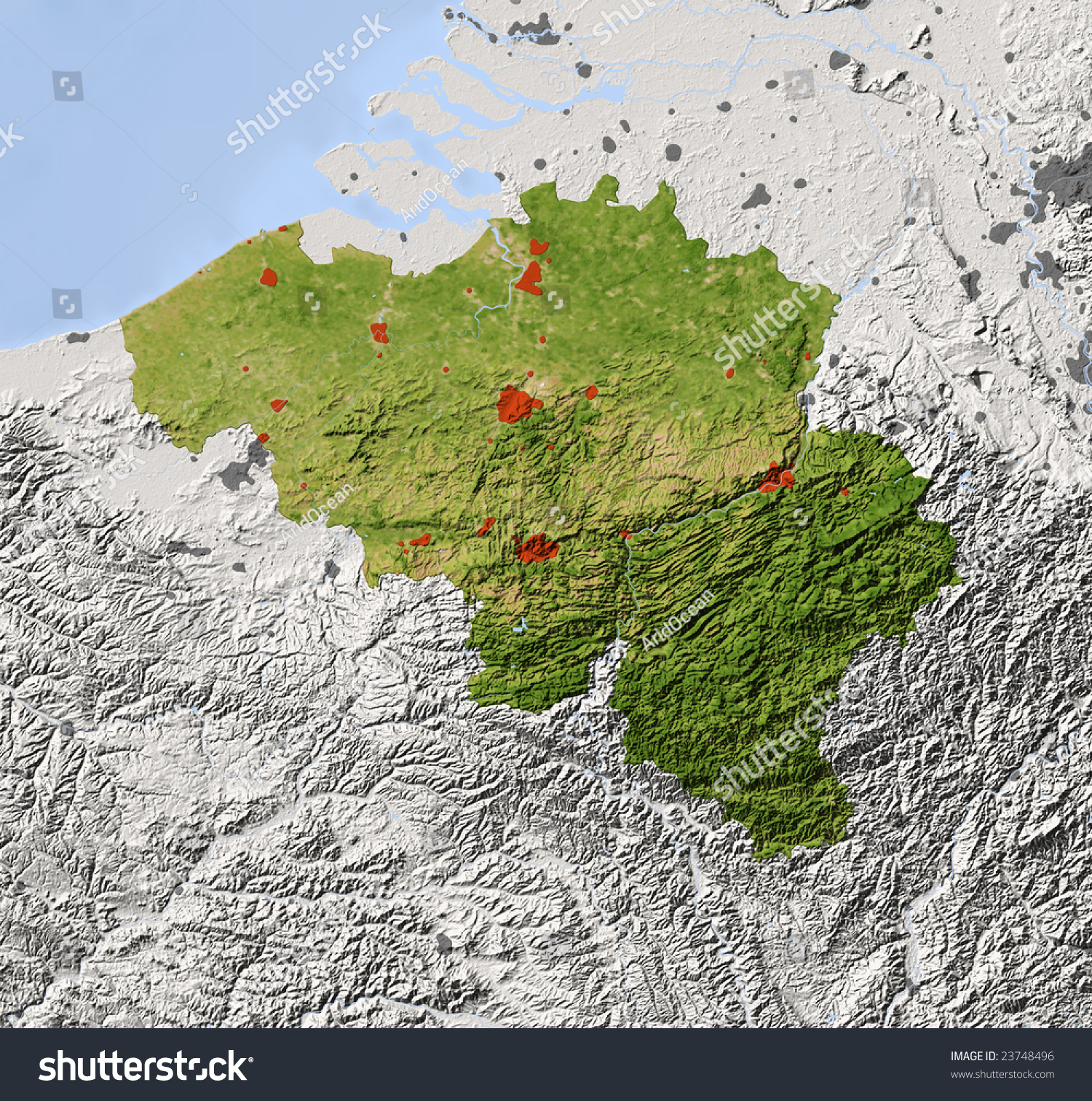 Belgium Shaded Relief Map Surrounding Territory Illustration – Topographic Map of Belgium
