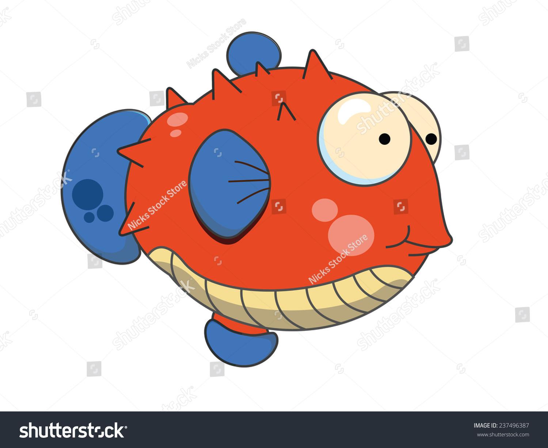 cute cartoon puffer fish funny japanese stock illustration