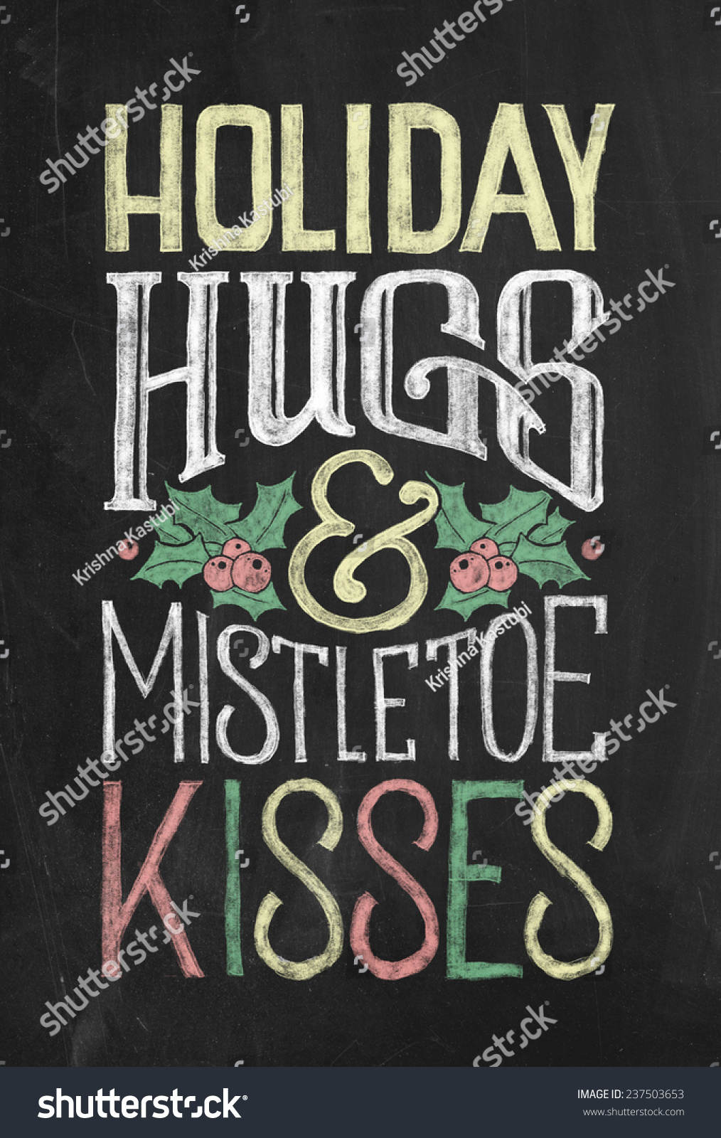 holiday hugs mistletoe kisses hand drawn stock illustration