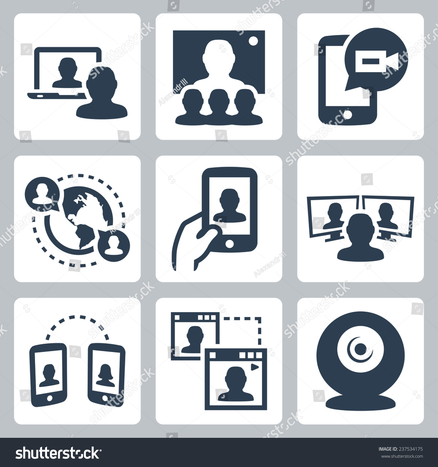Video Conference Communication Related Vector Icon Stock ...