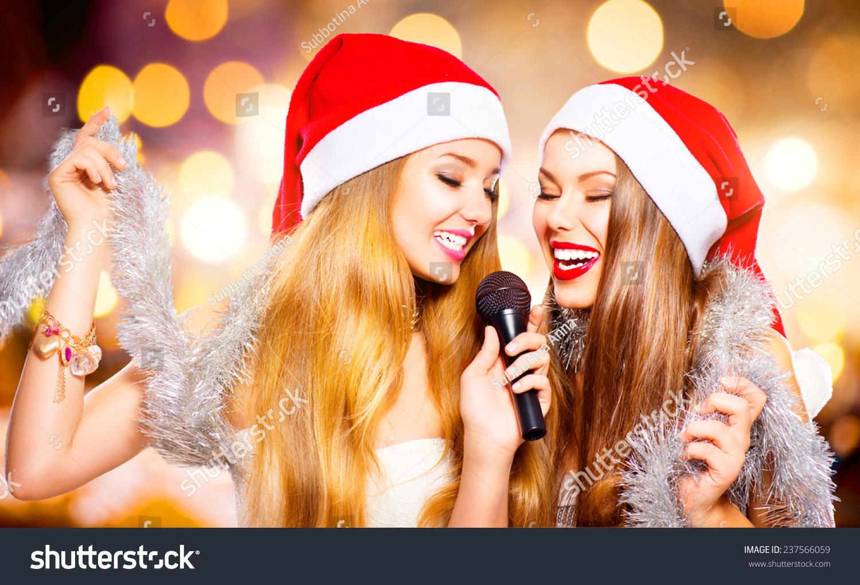 Christmas Party Karaoke Beauty Girls Santa Stock Photo (Edit Now ...