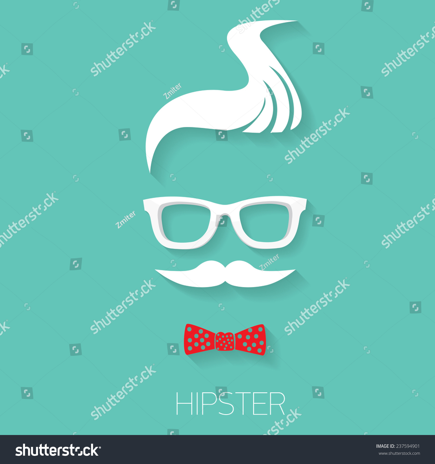 Hipster Man Icon Fashion Silhouette Hipster Style Vector