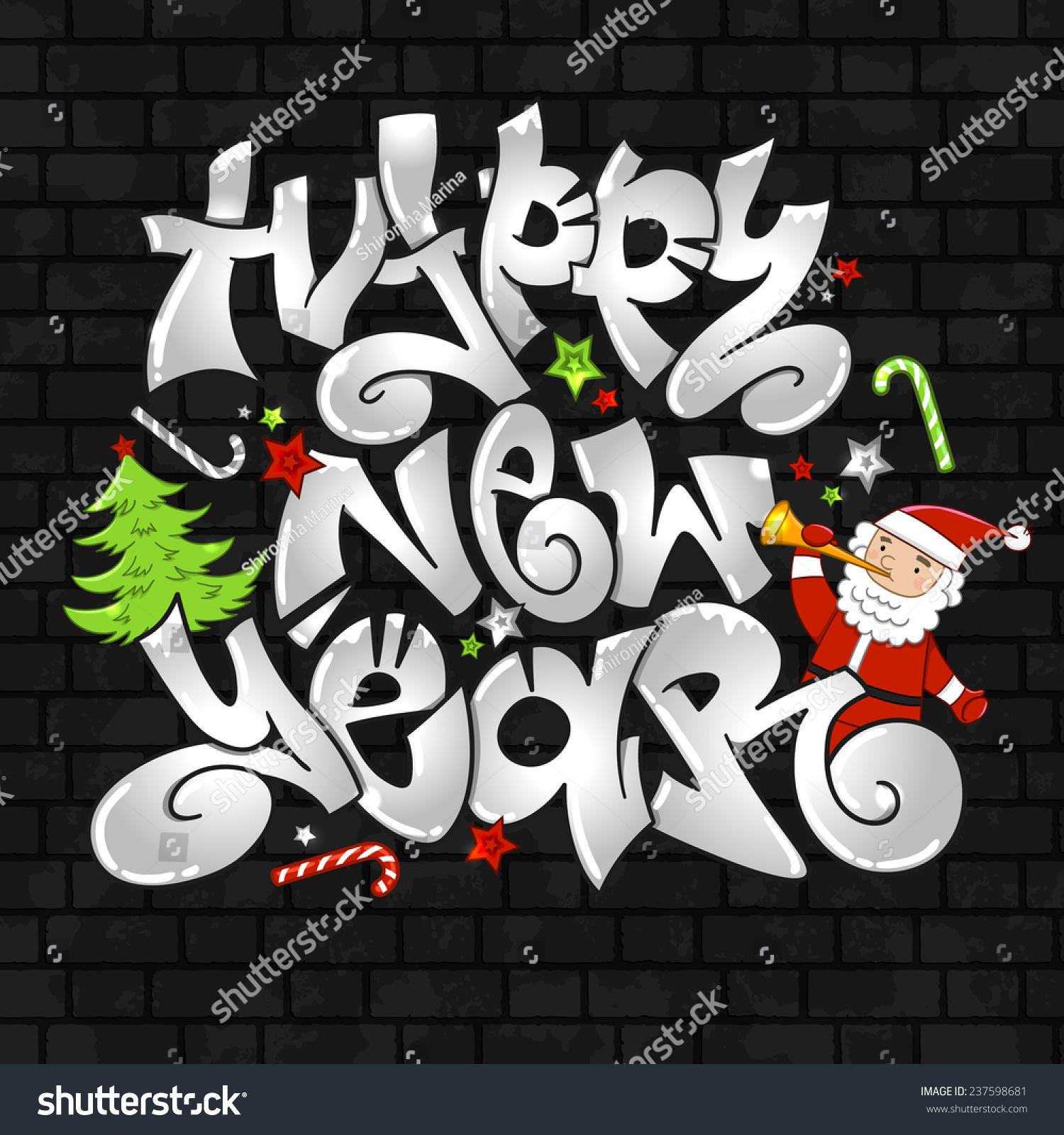 Christmas Graffiti Background.Vector Graffiti Happy New Year Urban Stockvektor Royaltyfri