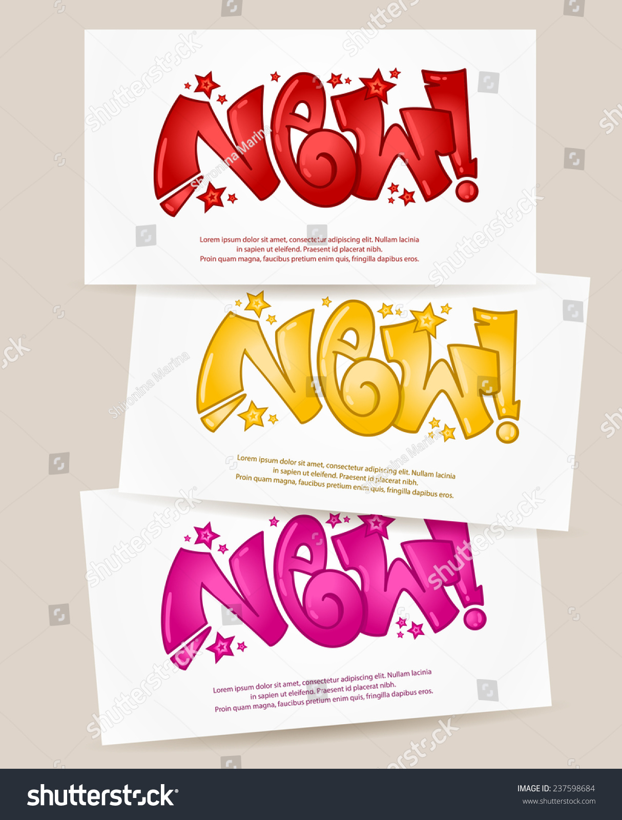 Vector set of banners with graffiti new in different colors urban art