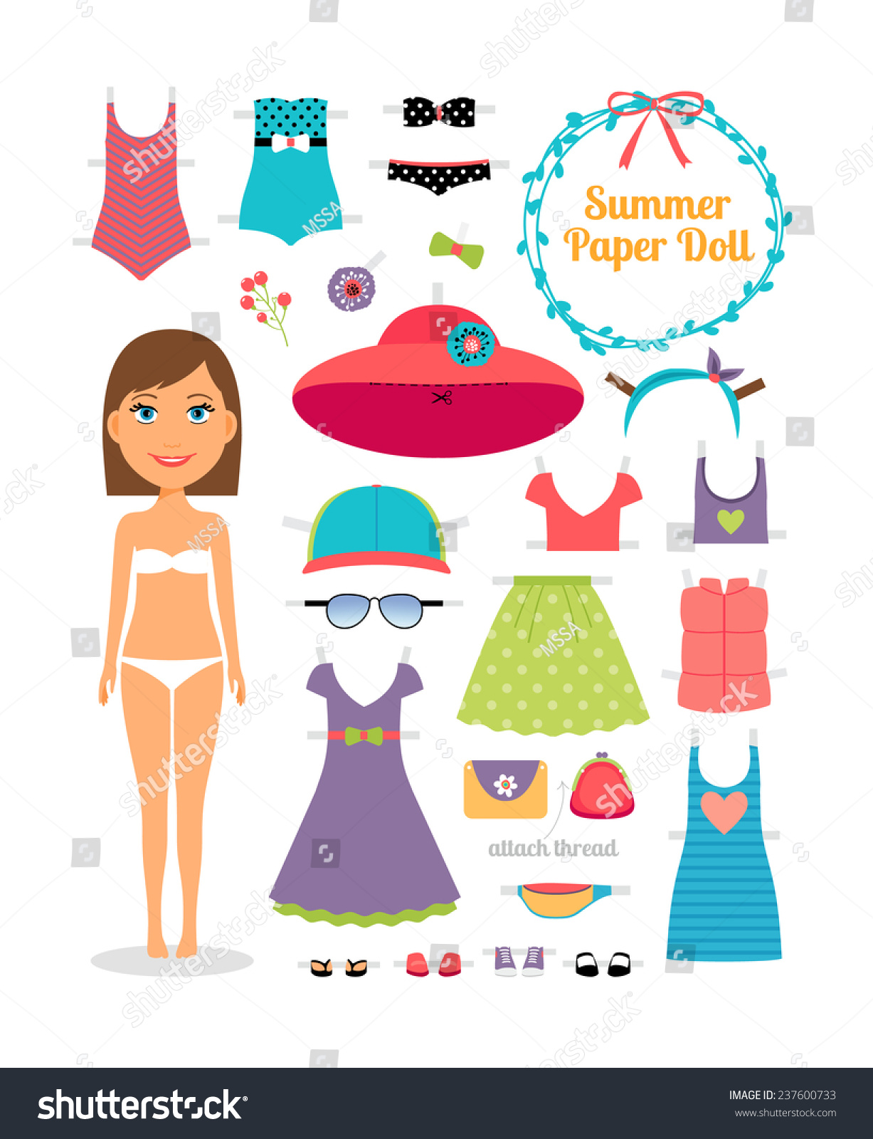 summer paper doll girl dress hat stock vector royalty free