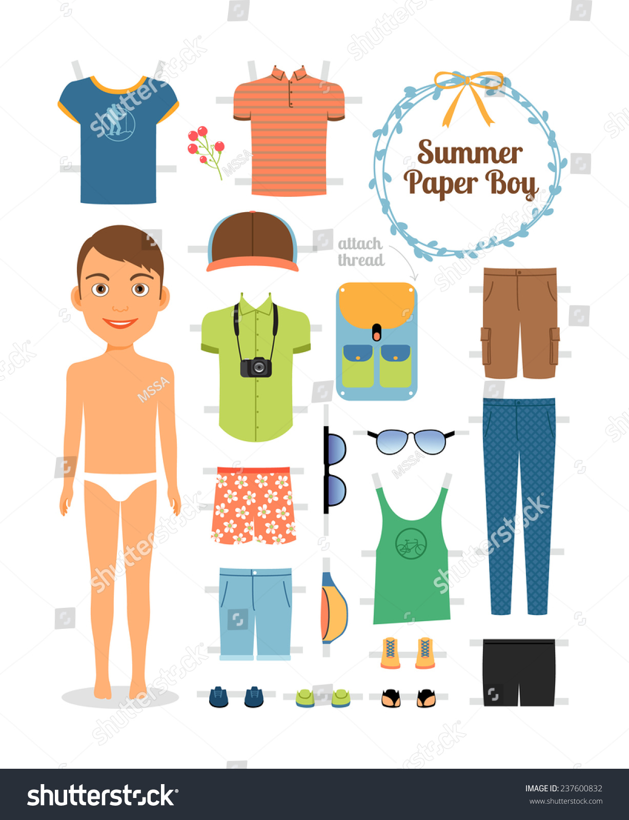 paper doll boy summer clothes shoes stock vector 237600832 shutterstock. Black Bedroom Furniture Sets. Home Design Ideas