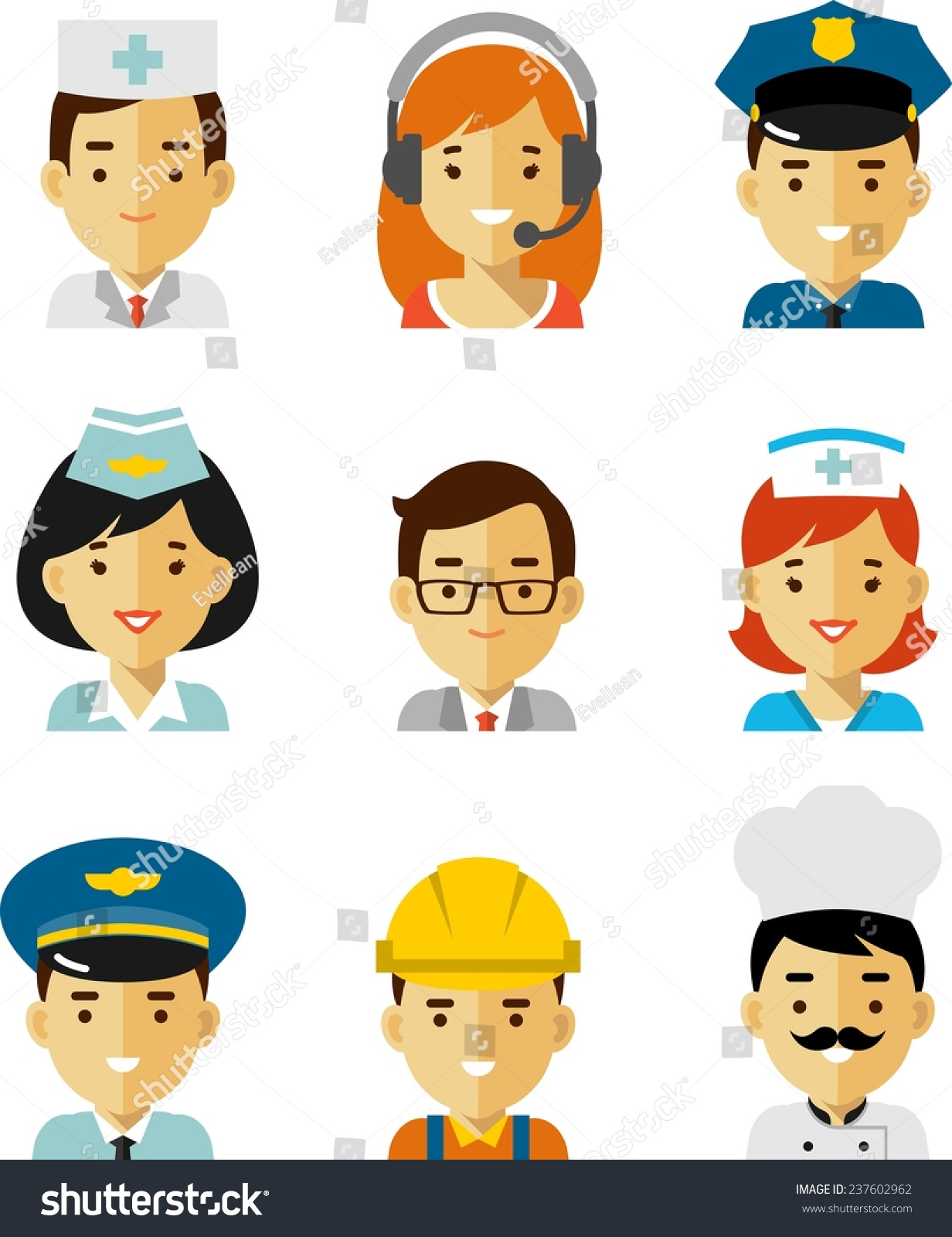 People Occupations Jobs And Community At: People Occupation Avatar Set Flat Style Stock Vector